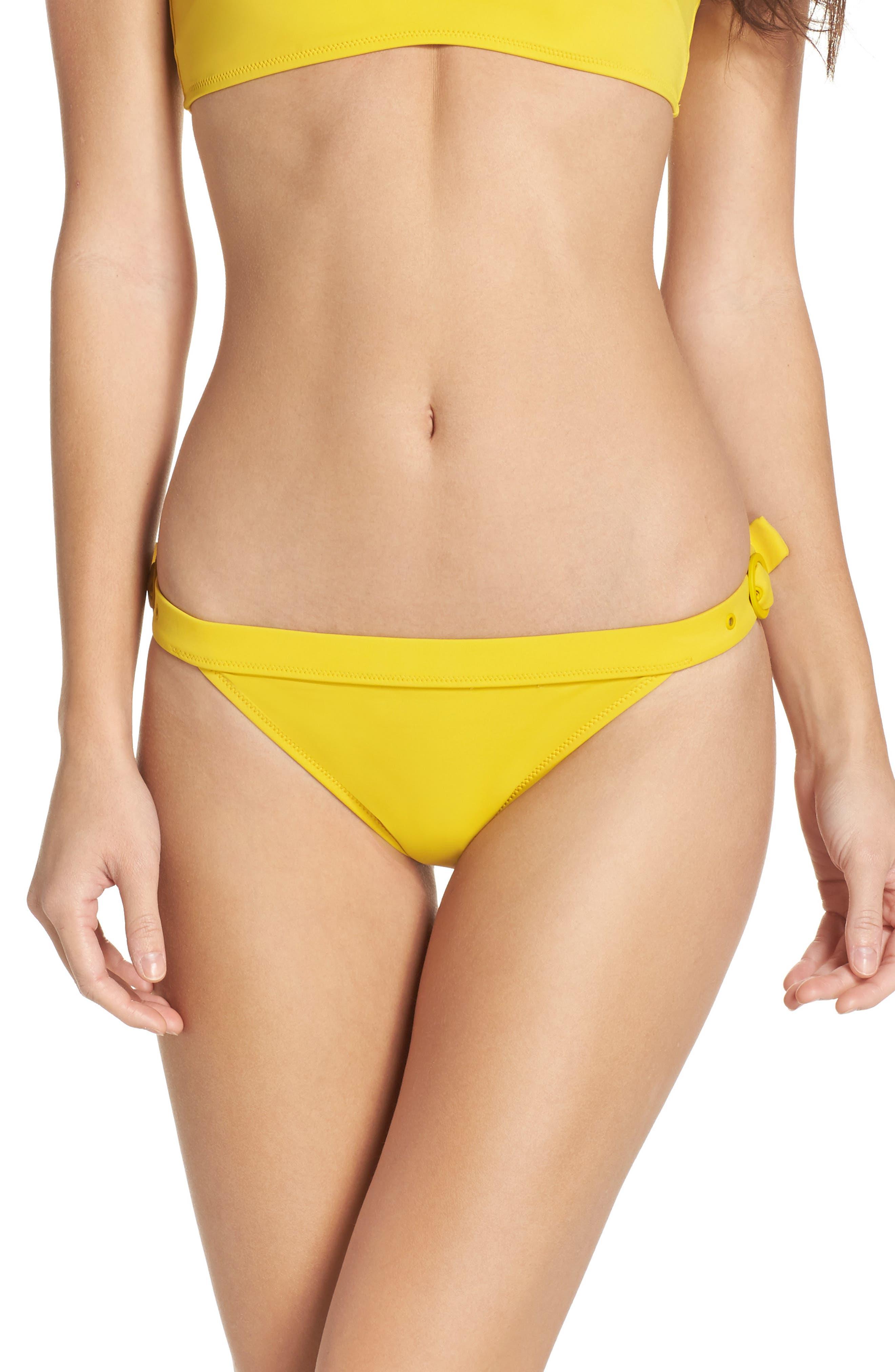 The Evelyn Bikini Bottoms,                         Main,                         color, Mustard