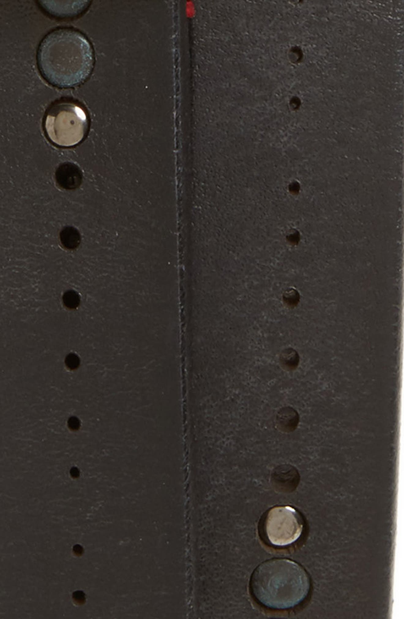 Studded Leather Belt,                             Alternate thumbnail 2, color,                             Black