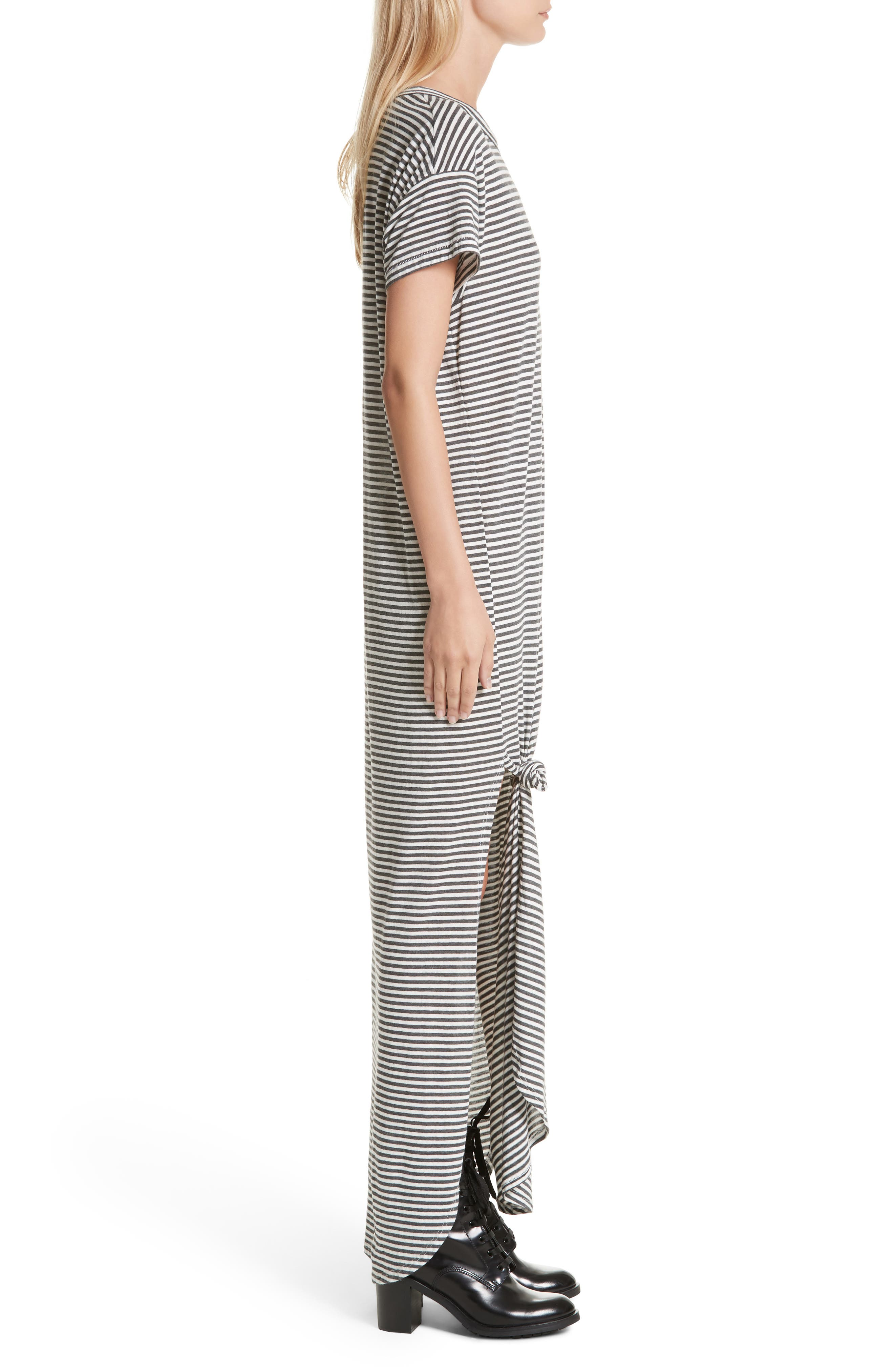 The Knotted Tee Dress,                             Alternate thumbnail 4, color,                             Smoke Stripe