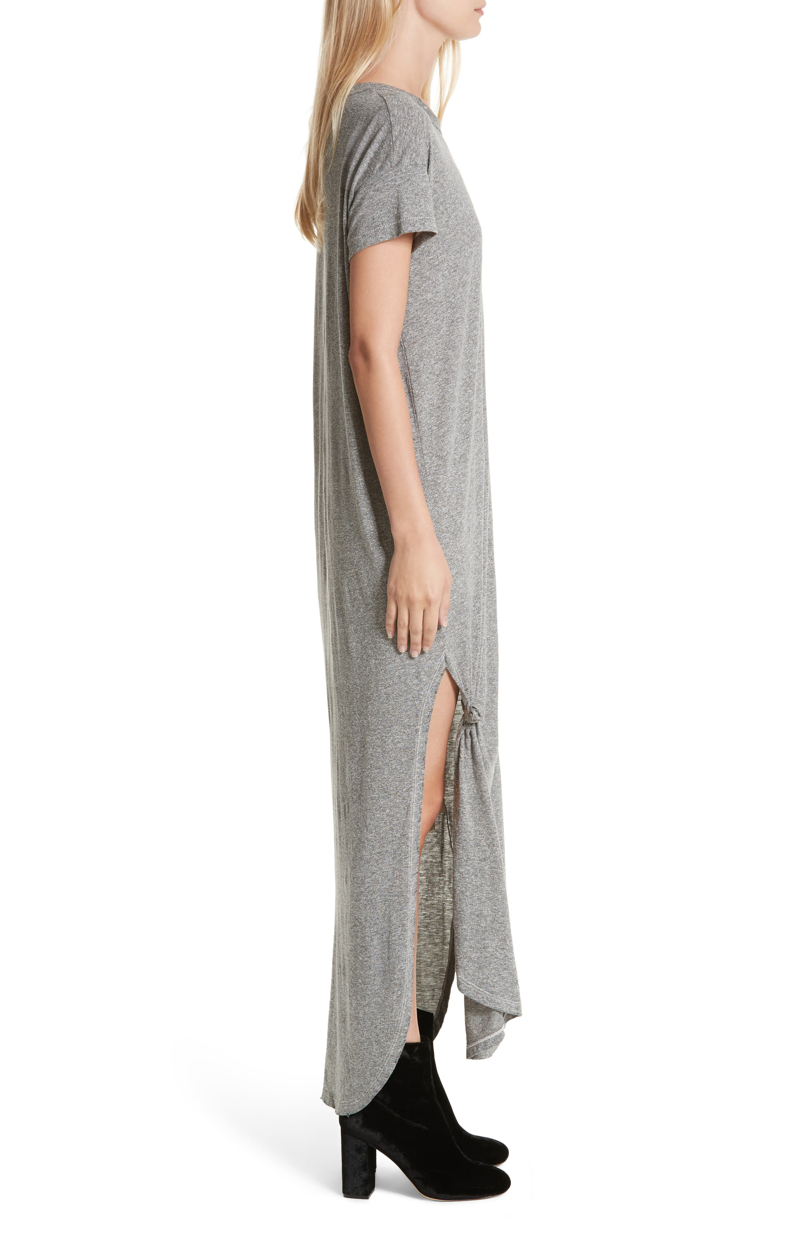 The Knotted Tee Dress,                             Alternate thumbnail 4, color,                             Heather Grey