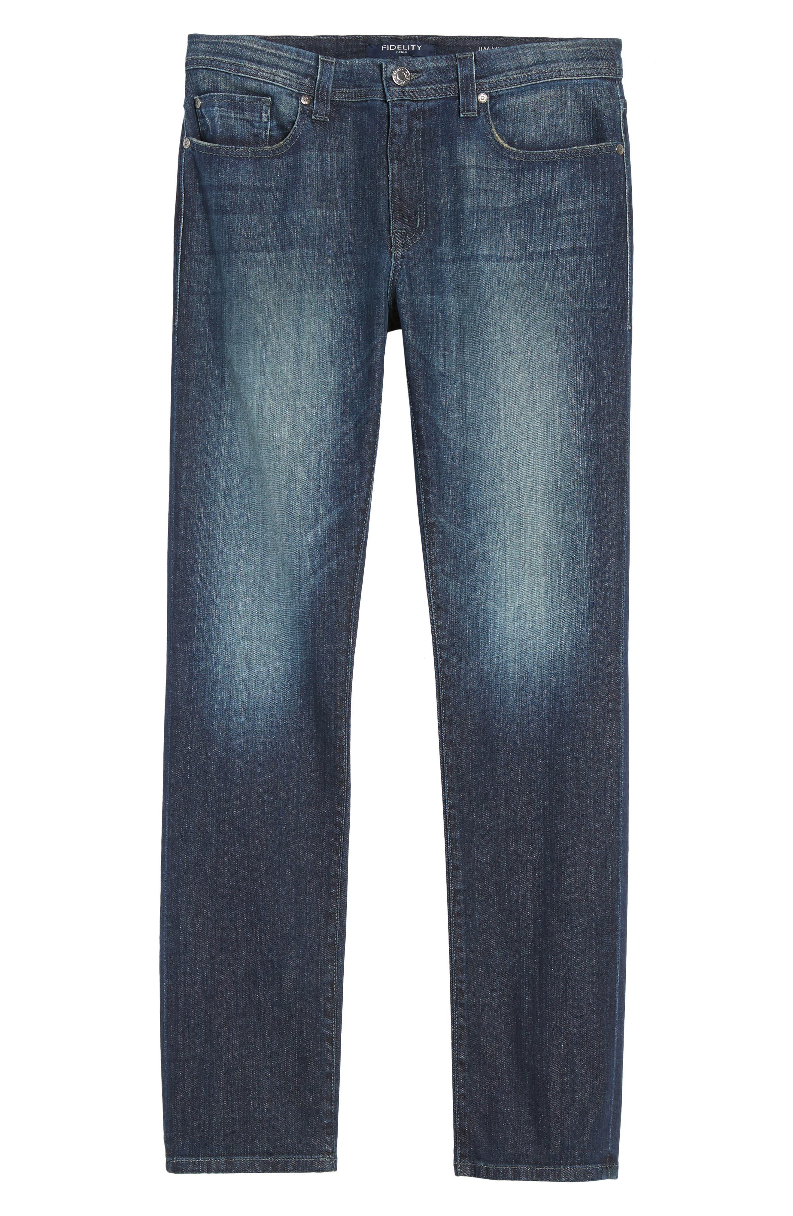 Alternate Image 6  - Fidelity Denim Jimmy Slim Straight Leg Jeans (Militia Blue)