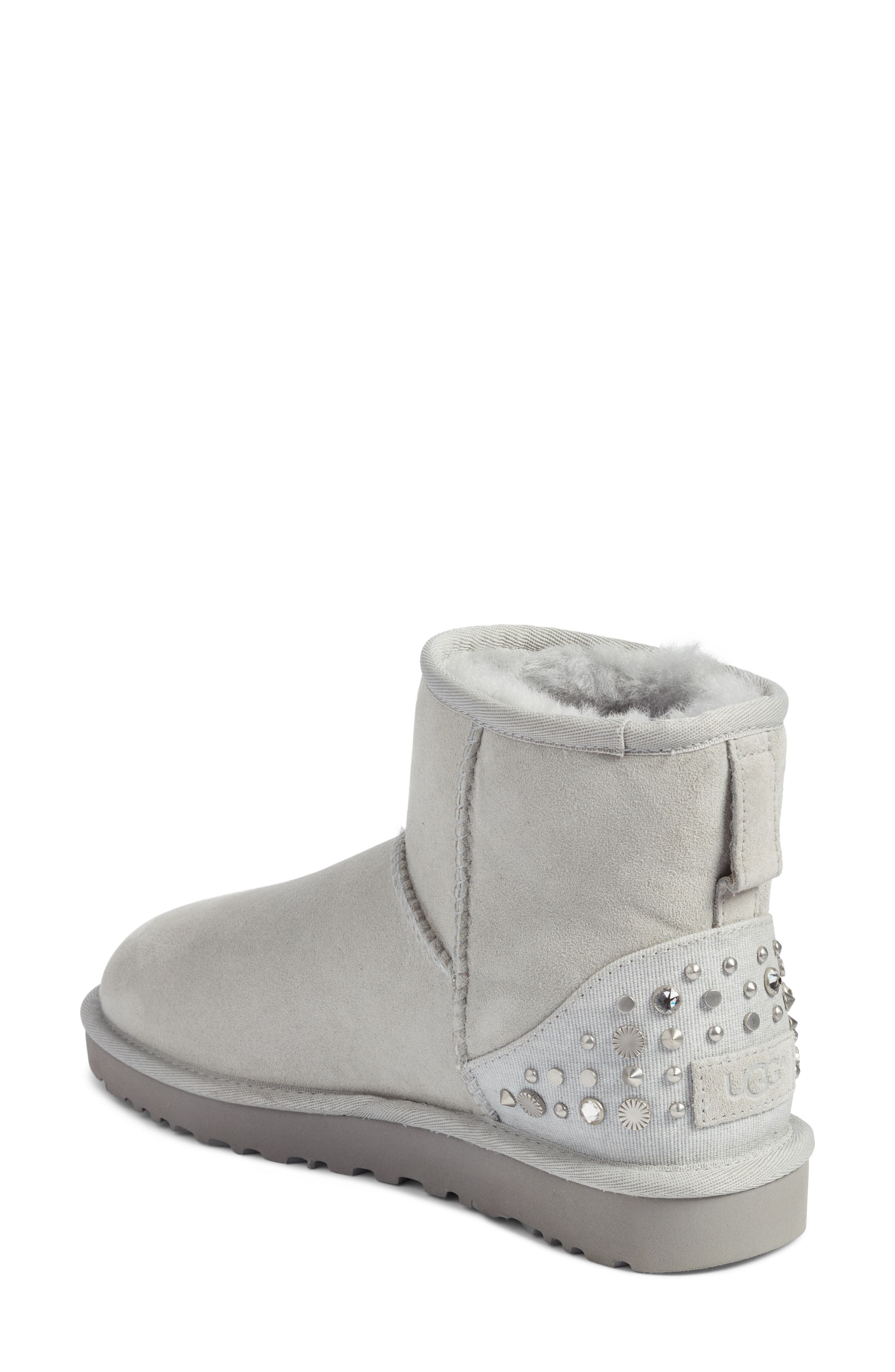 Studded Mini Genuine Shearling Lined Boot,                             Alternate thumbnail 3, color,                             Grey Violet