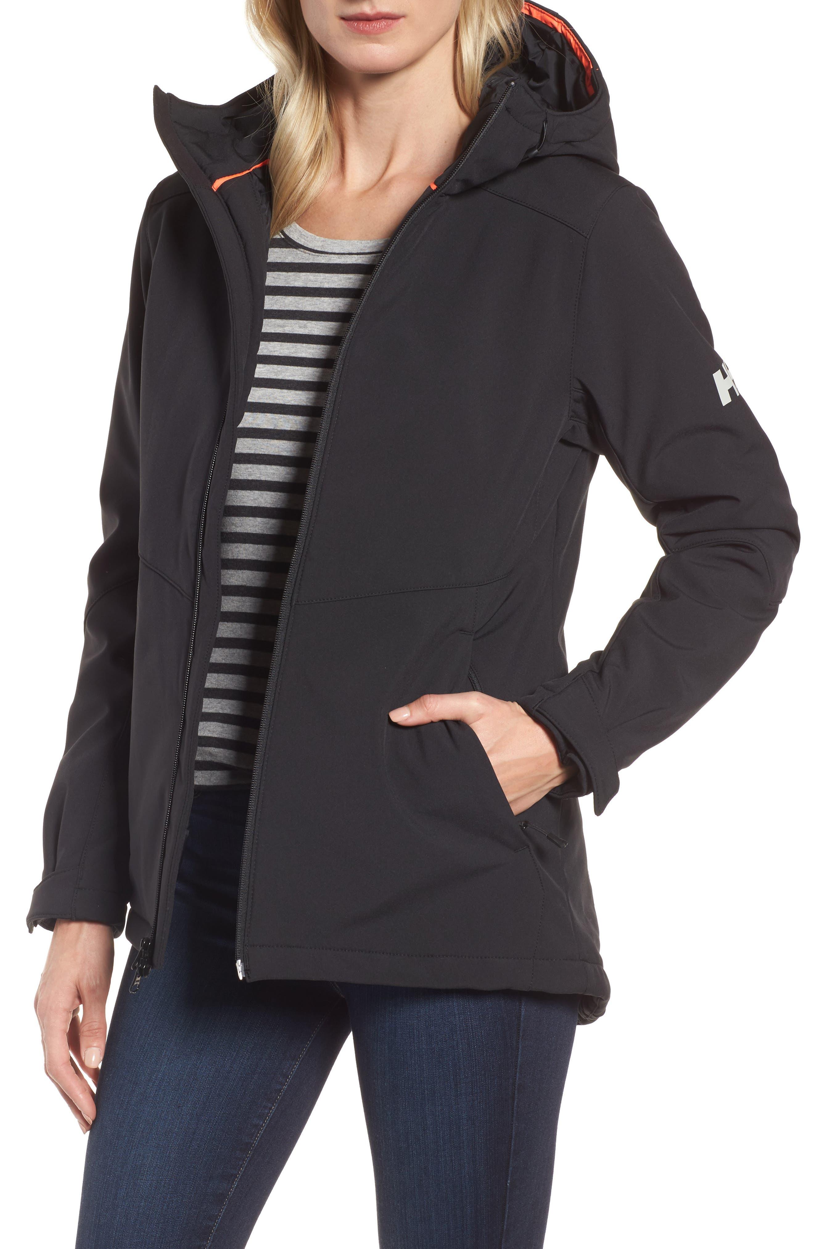 Lofn Hooded Insulated Soft Shell Jacket,                             Main thumbnail 1, color,                             Black