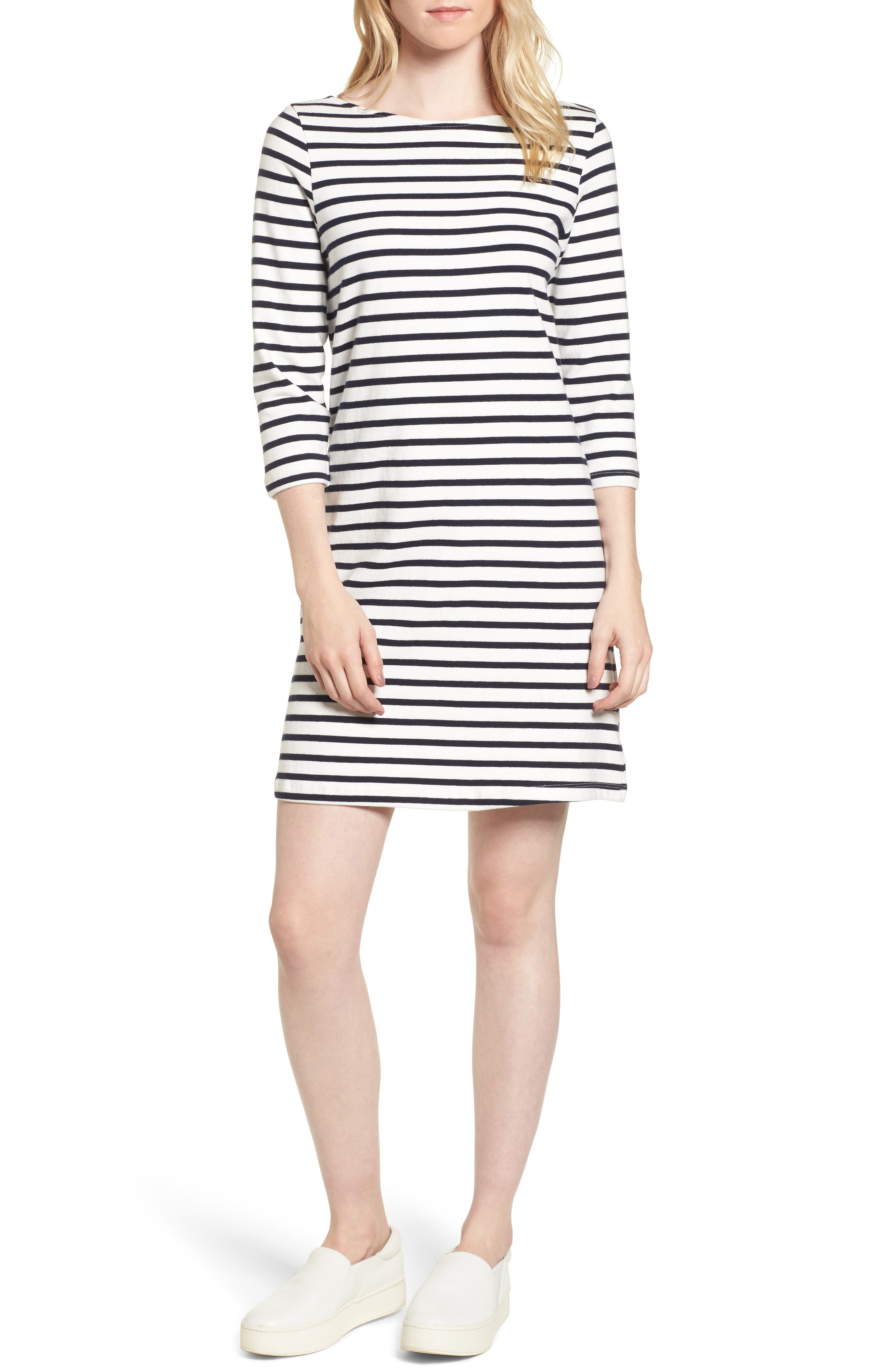 Trista Organic Cotton Dress,                             Main thumbnail 1, color,                             Ivory/ Navy