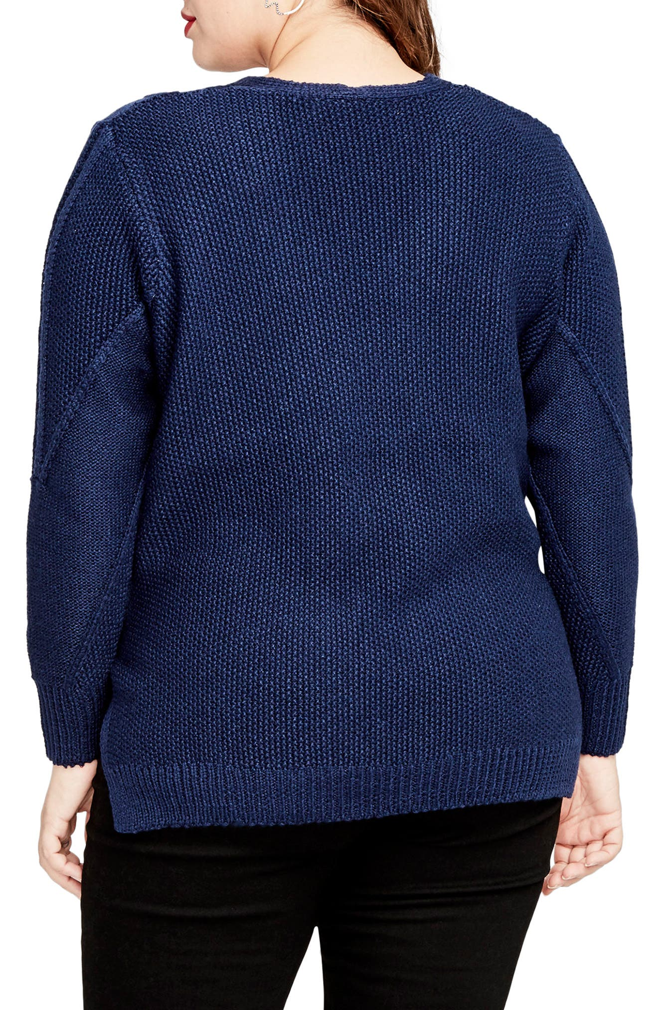 Mixed Cable Sweater,                             Alternate thumbnail 2, color,                             Blue Navy