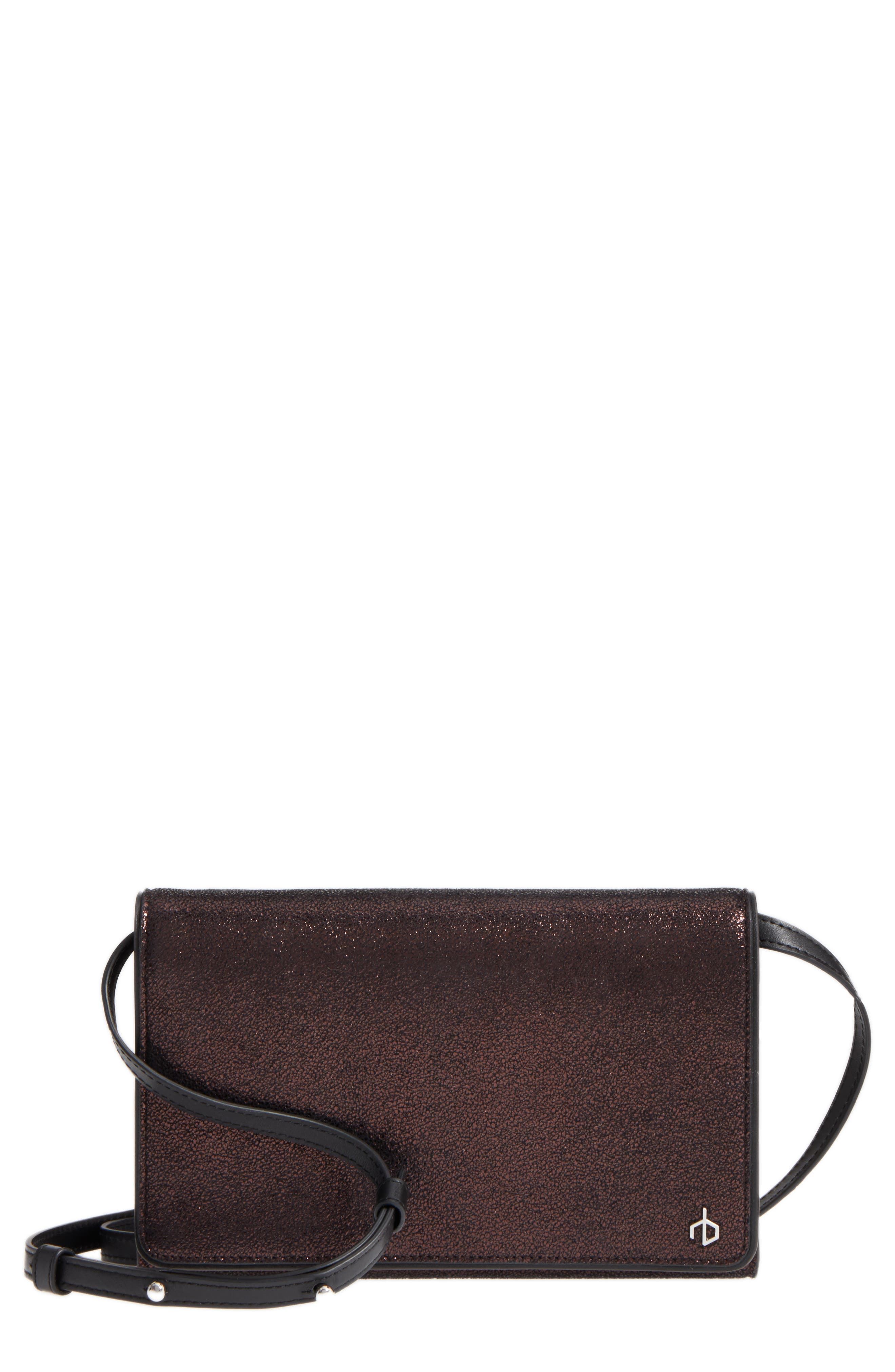 Metallic Leather Crossbody Wallet,                             Main thumbnail 1, color,                             Copper