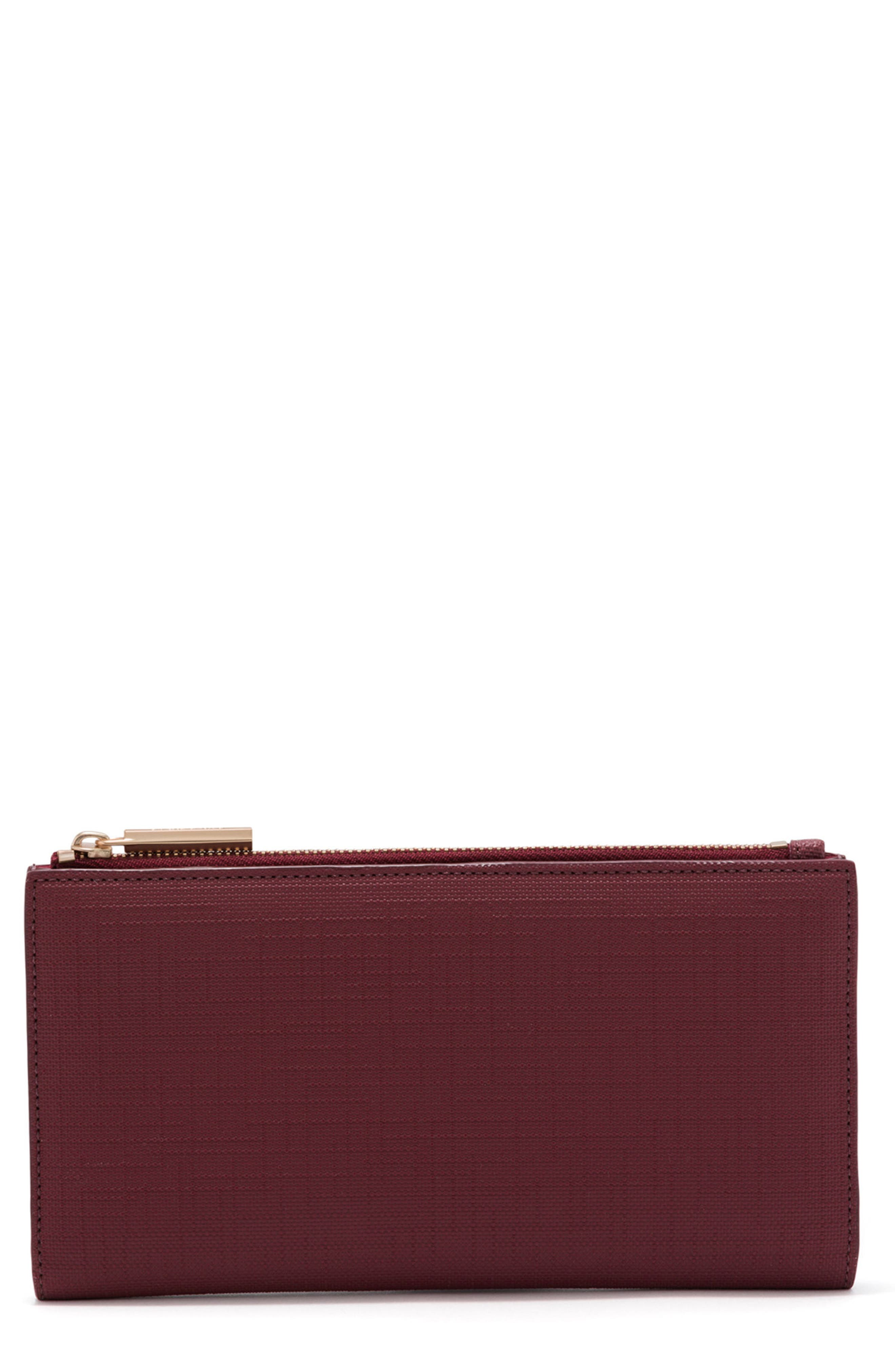 Signature Slim Coated Canvas Wallet,                         Main,                         color, Syrah