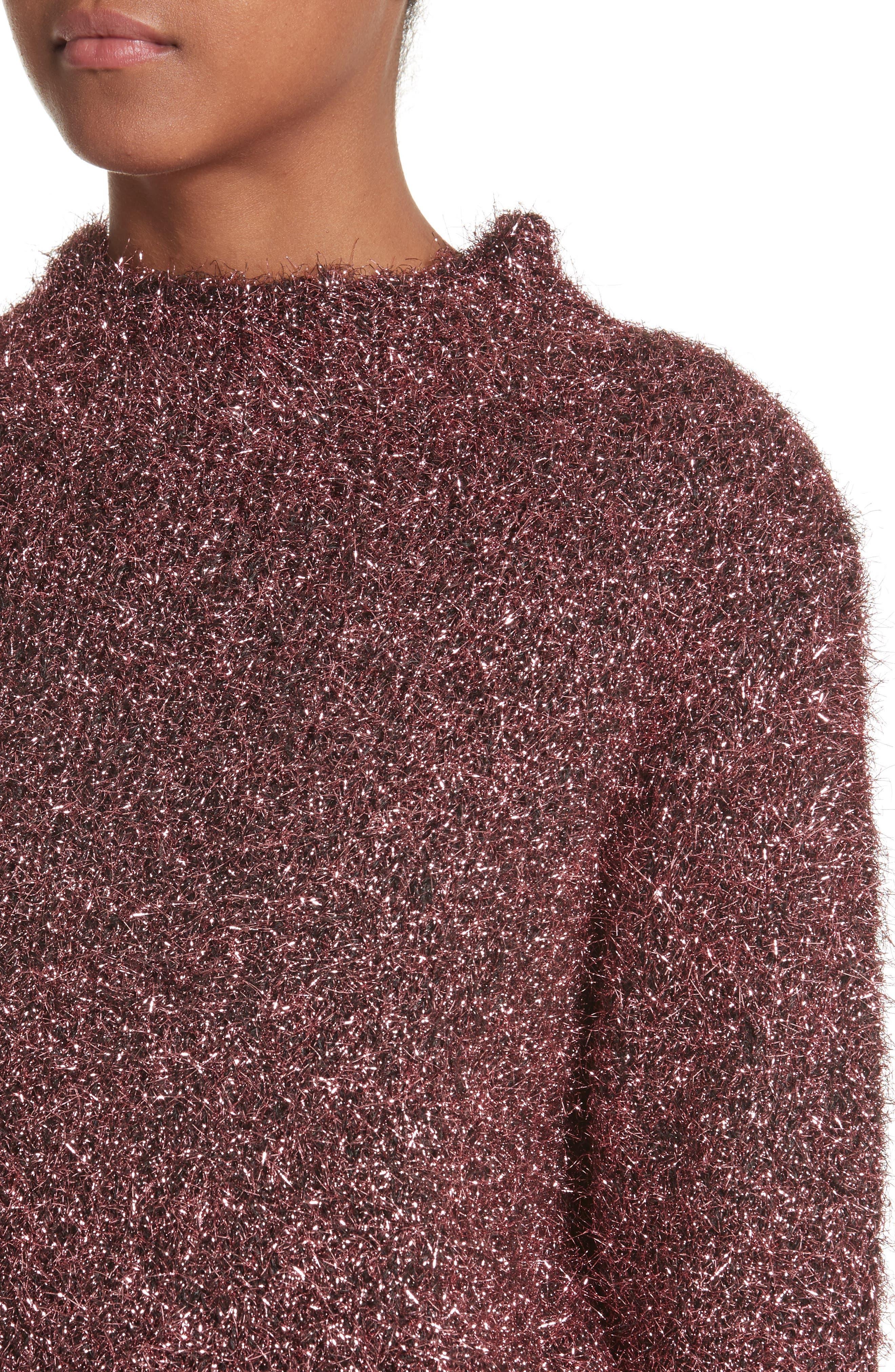 Vaporize Textured Metallic Sweater,                             Alternate thumbnail 4, color,                             Pink