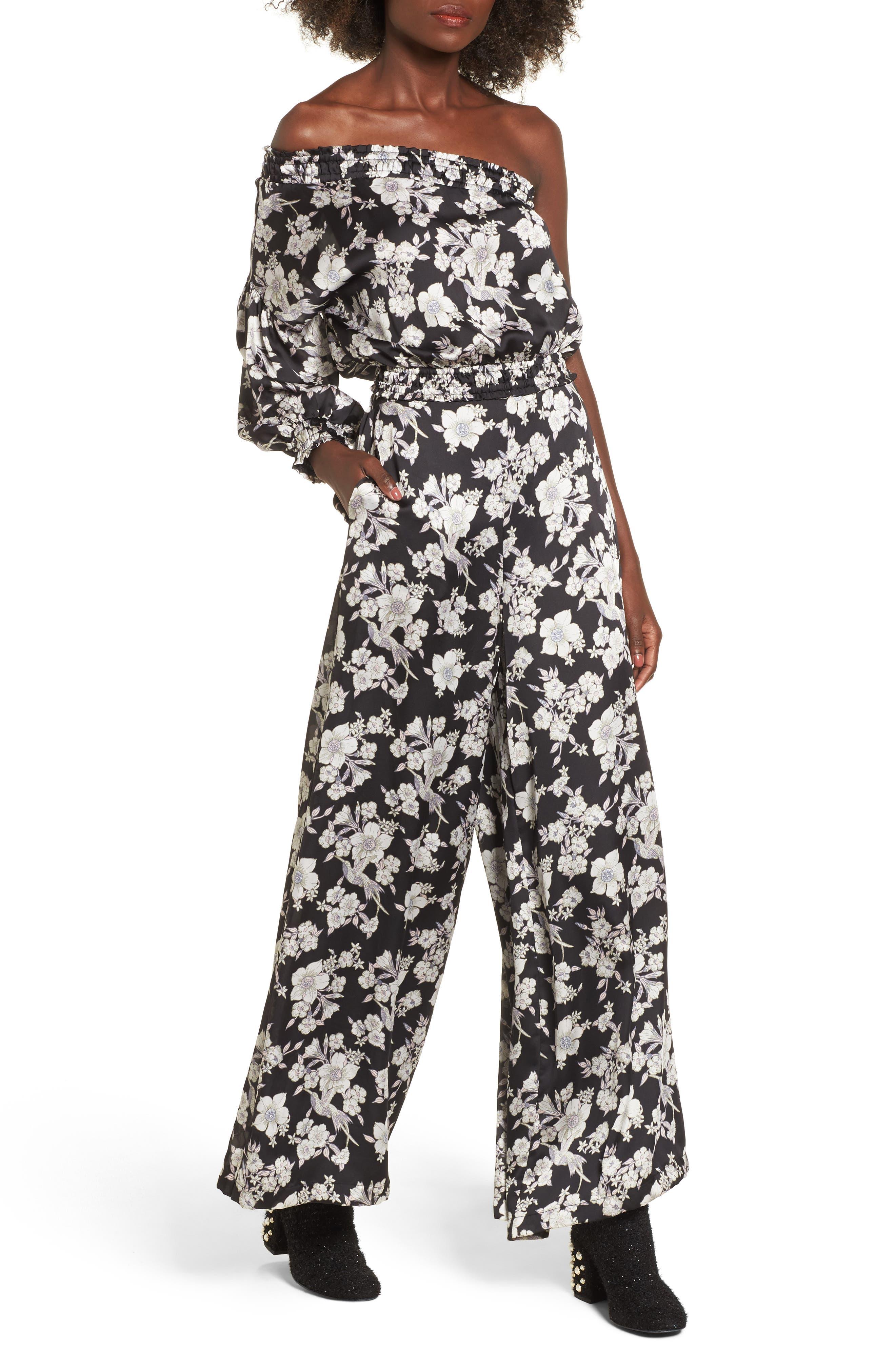 Birdee Wide Leg Pants,                             Alternate thumbnail 2, color,                             Black Floral