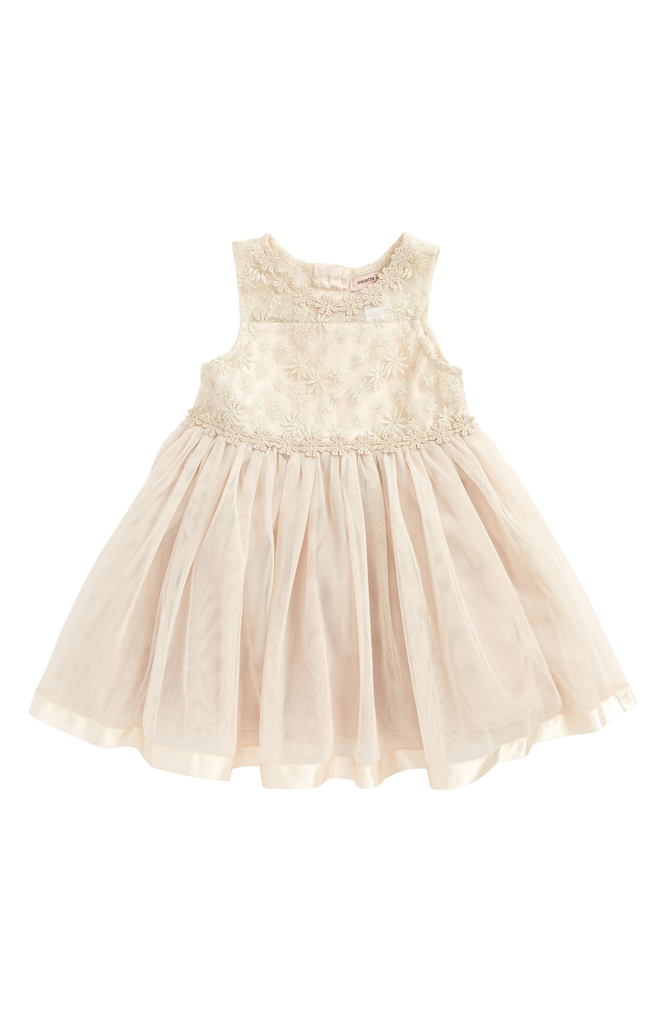 Lace & Tulle Dress,                         Main,                         color, Gold