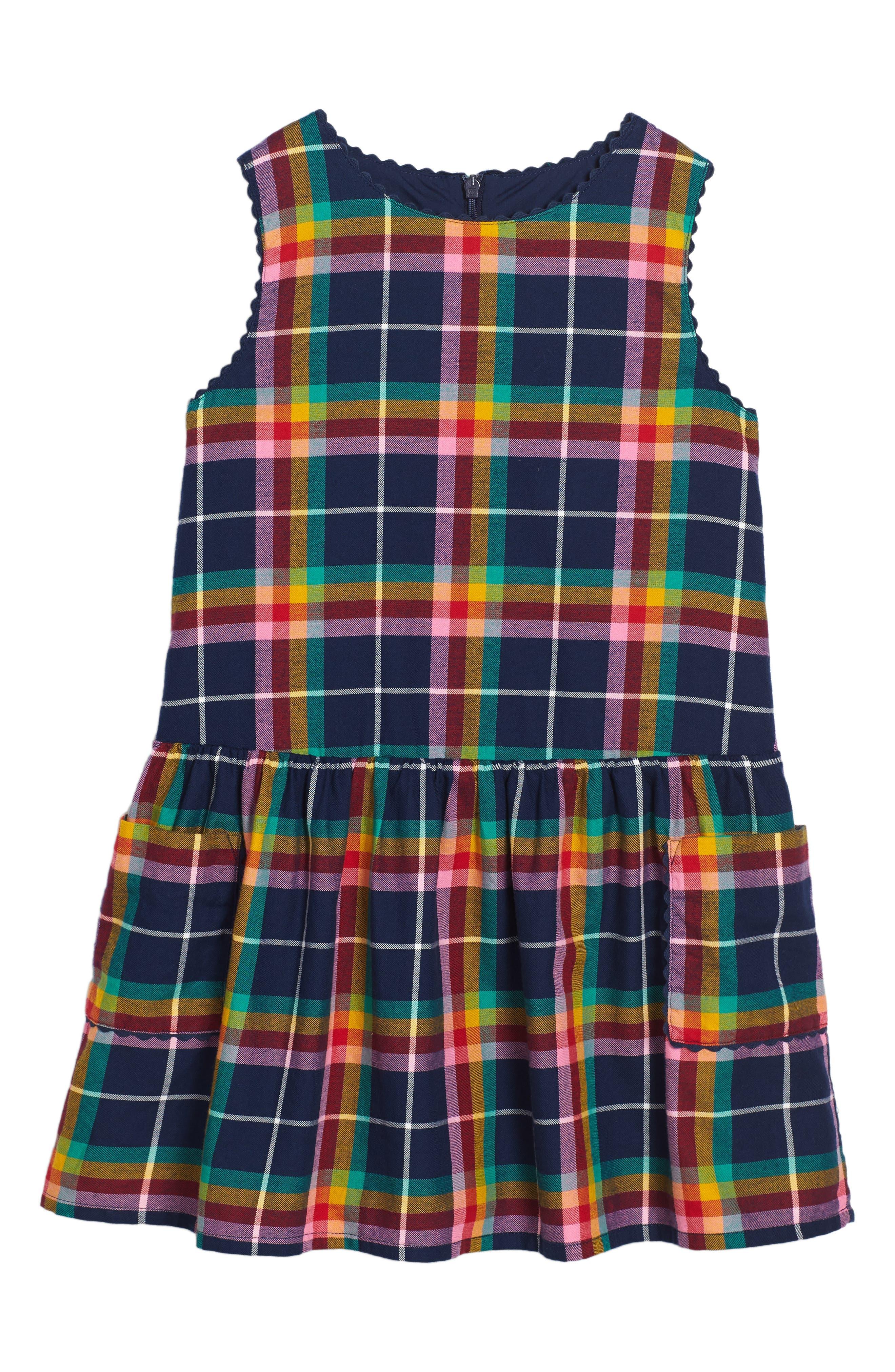 Main Image - Mini Boden Plaid Pinafore Dress (Toddler Girls, Little Girls & Big Girls)