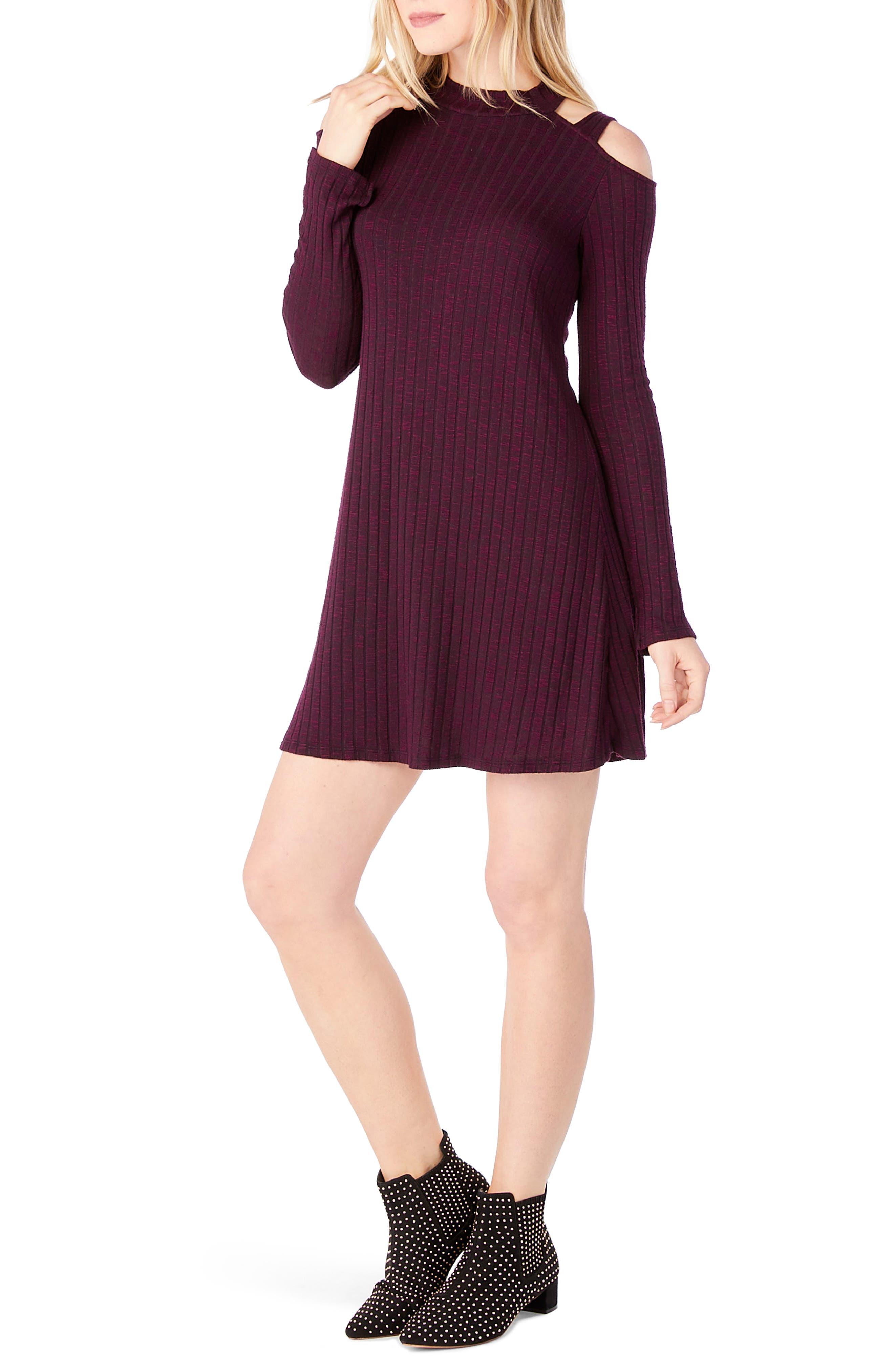 Cold Shoulder Mock Neck Shift Dress,                             Alternate thumbnail 3, color,                             Rumba
