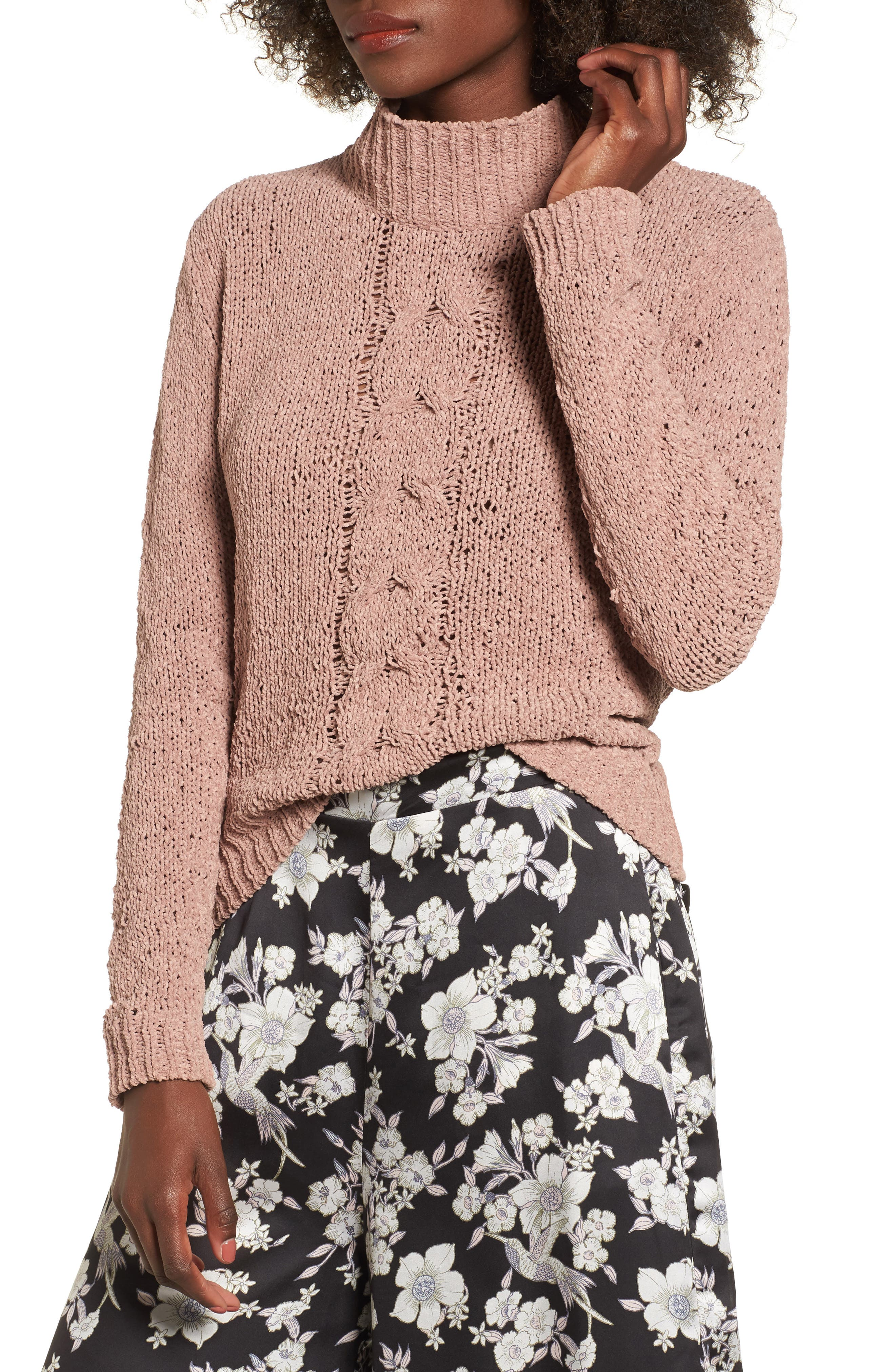 Jolie Chenille Sweater,                         Main,                         color, Mauve