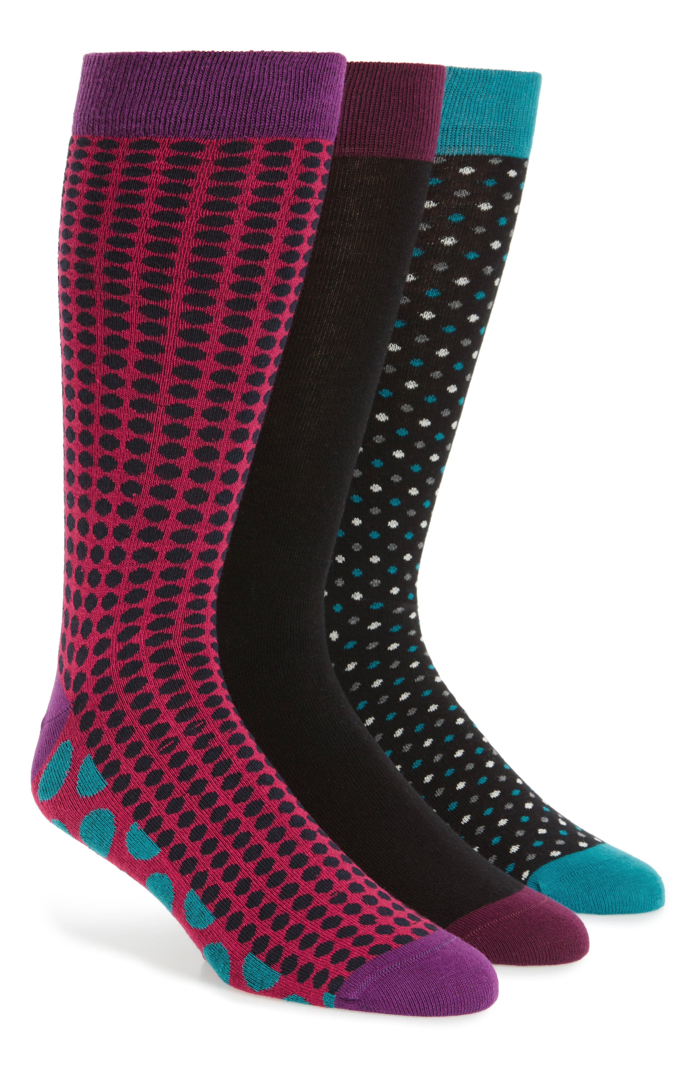 Assorted 3-Pack Crew Socks,                             Main thumbnail 1, color,                             Black Assorted