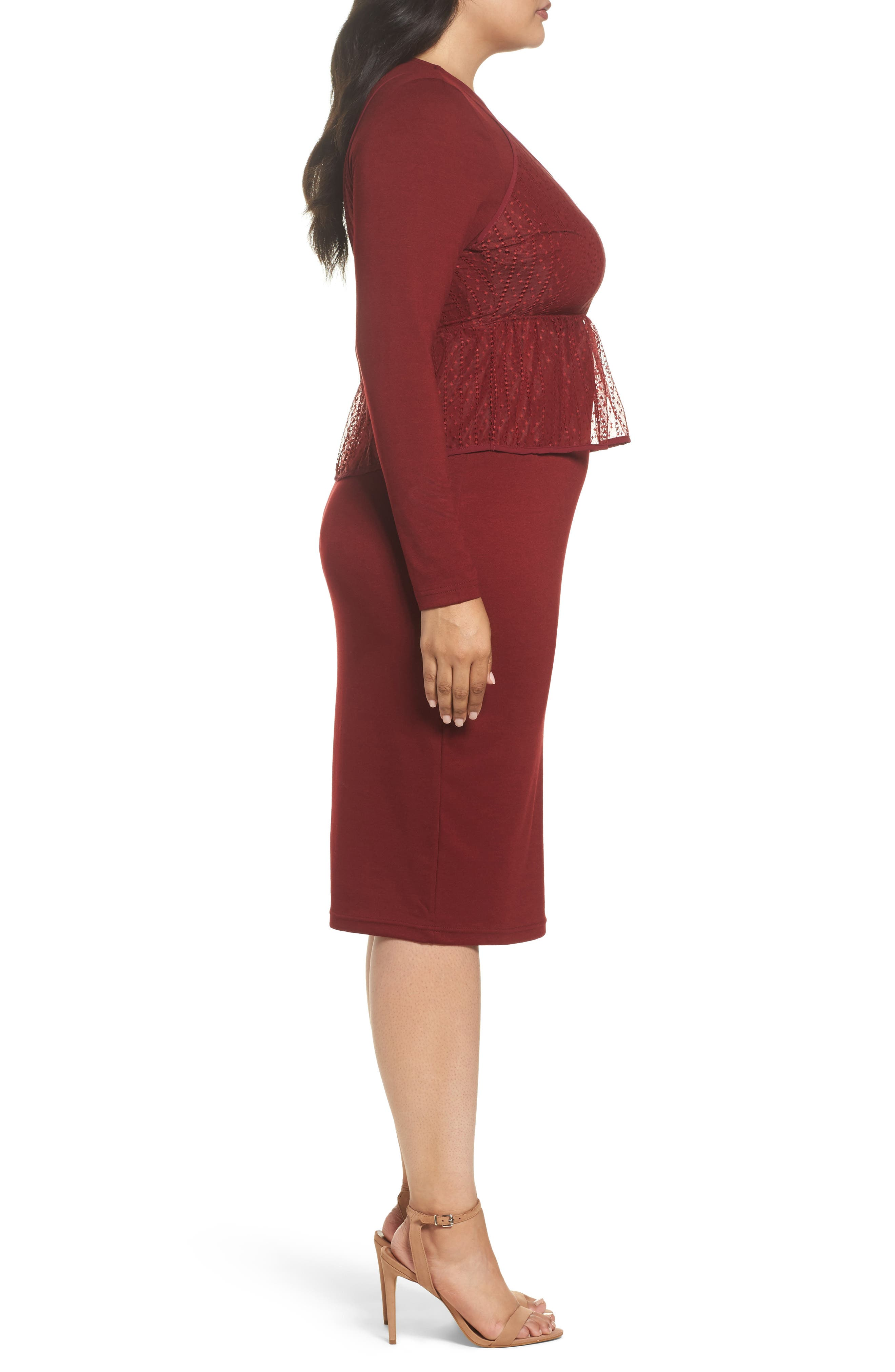 Peplum Overlay Body-Con Dress,                             Alternate thumbnail 4, color,                             Oxblood