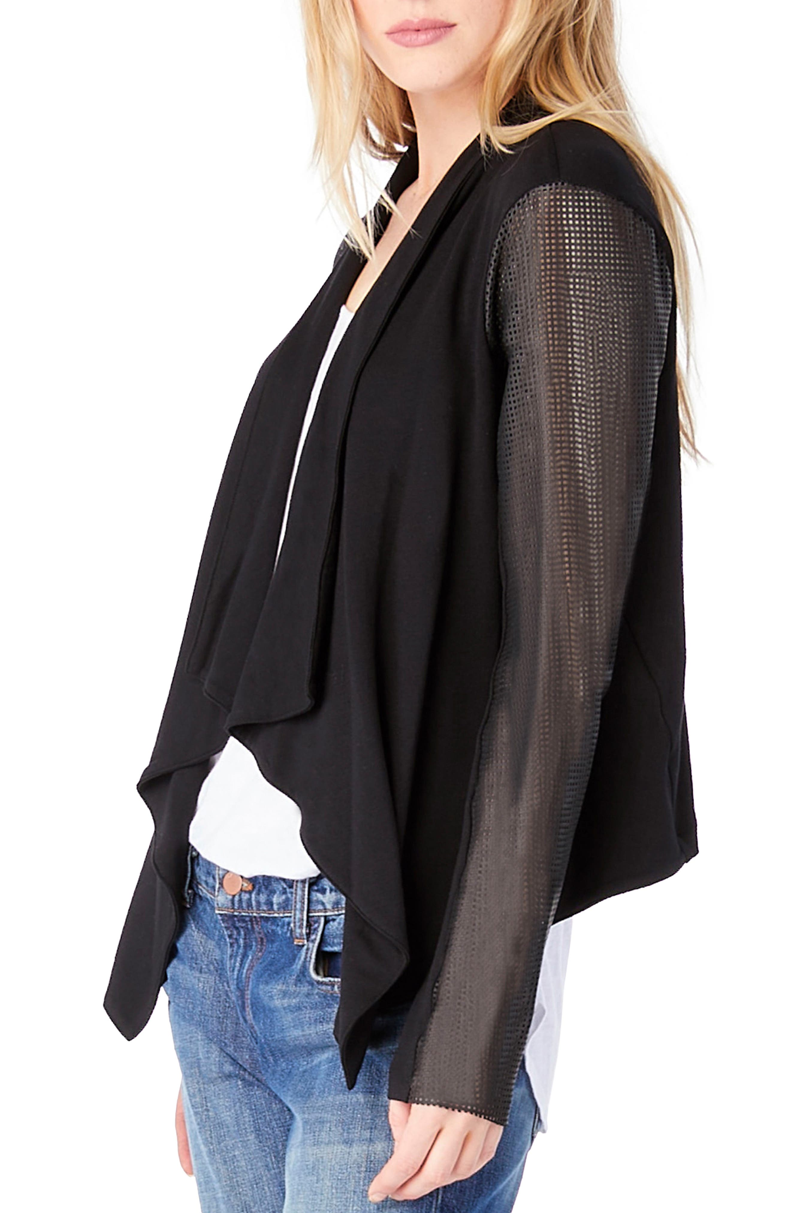 Alternate Image 3  - Michael Stars Leather Sleeve Draped Blazer