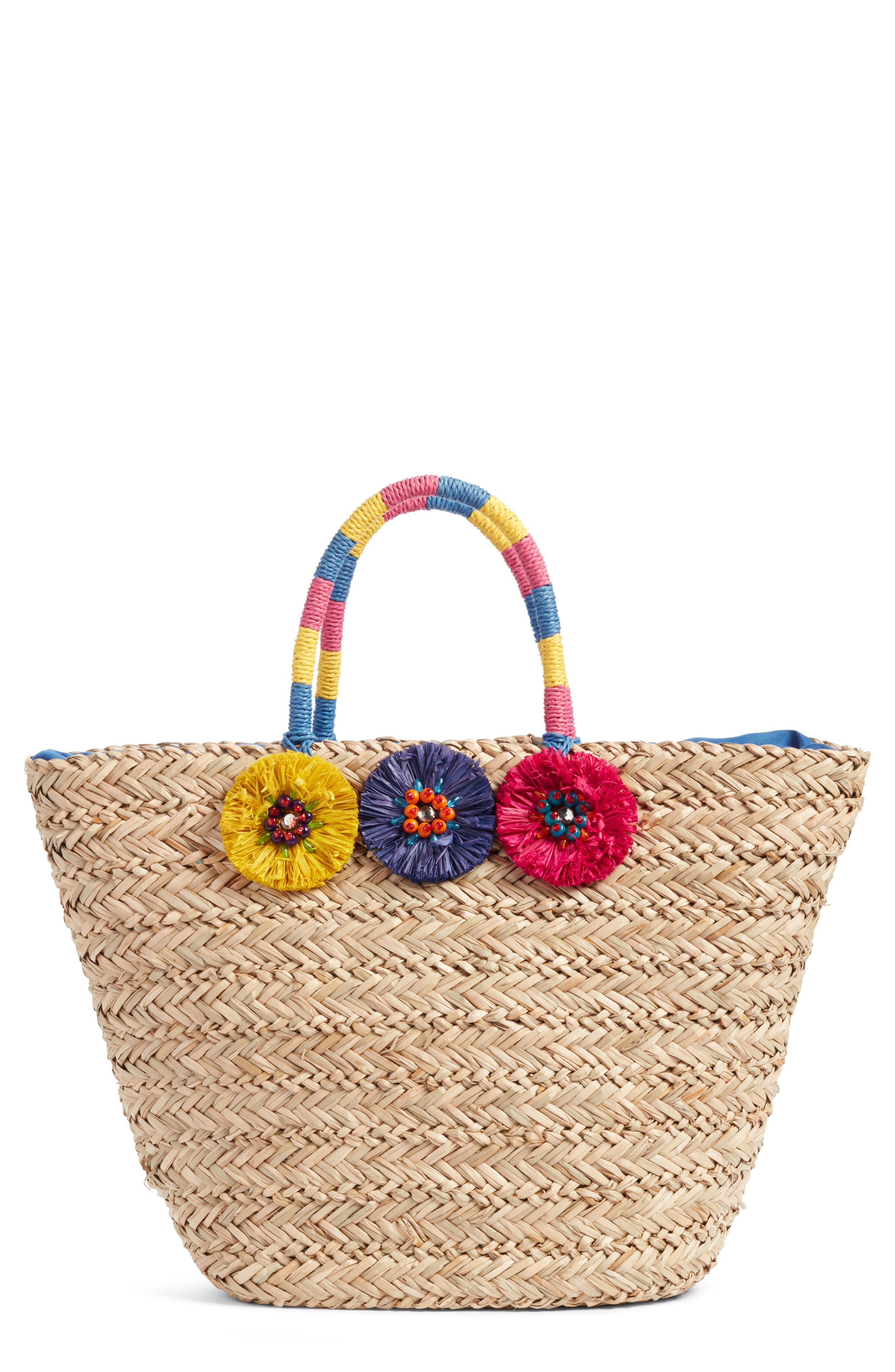Nordstrom Rosette Bead Seagrass Tote