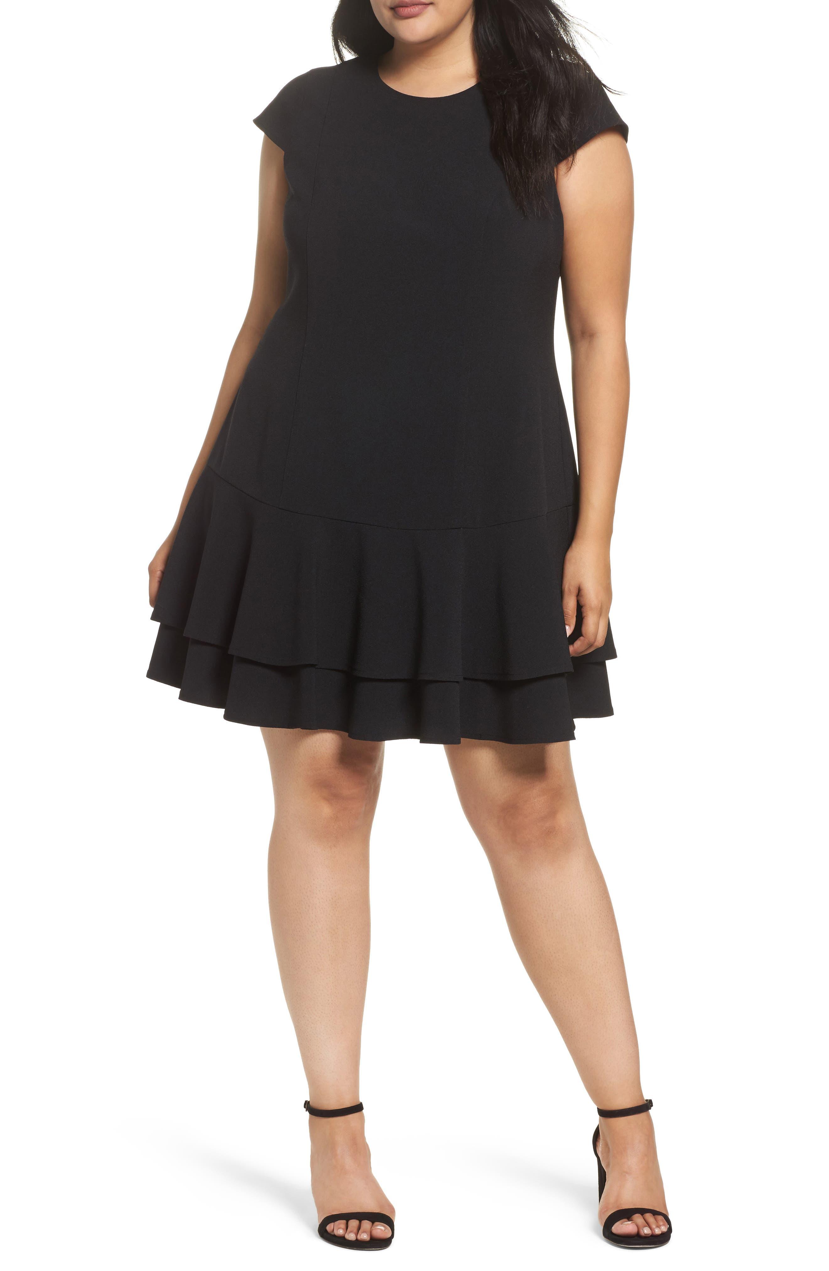 Crepe Drop Waist Dress,                         Main,                         color, Black
