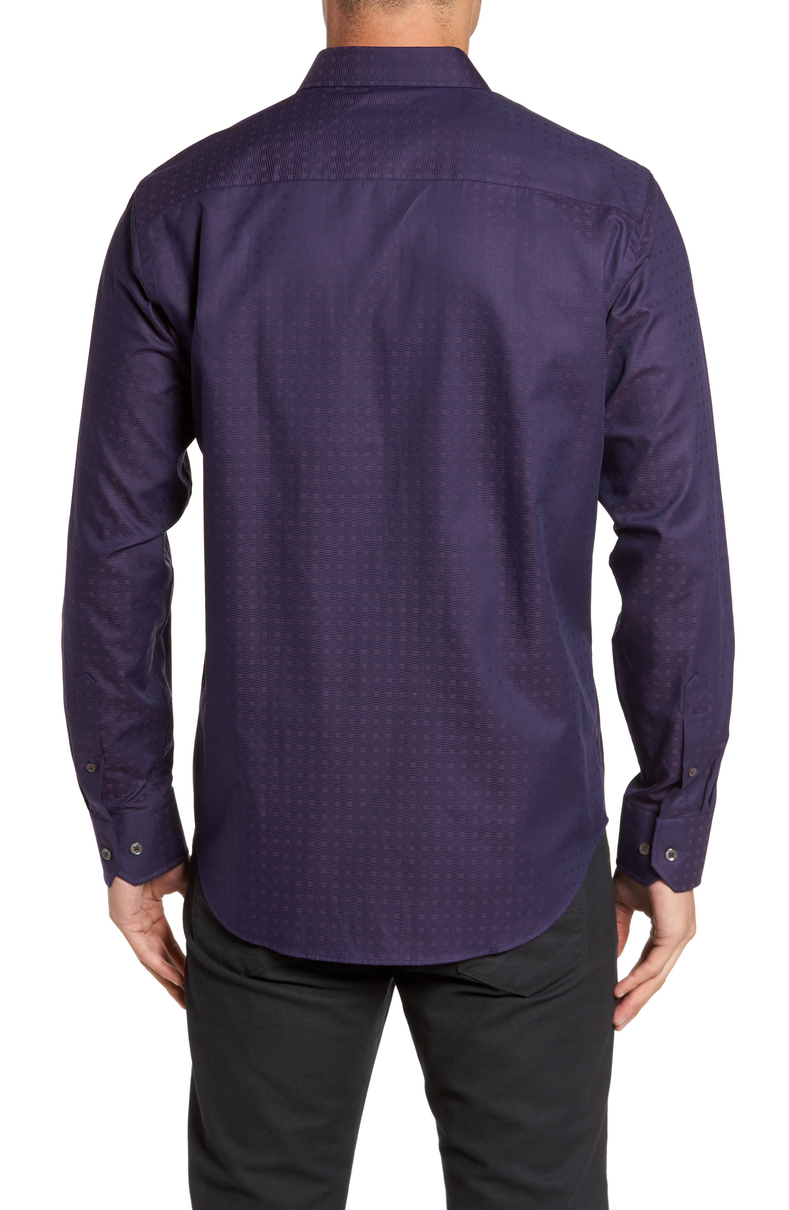Classic Fit Geo Jacquard Sport Shirt,                             Alternate thumbnail 2, color,                             Plum