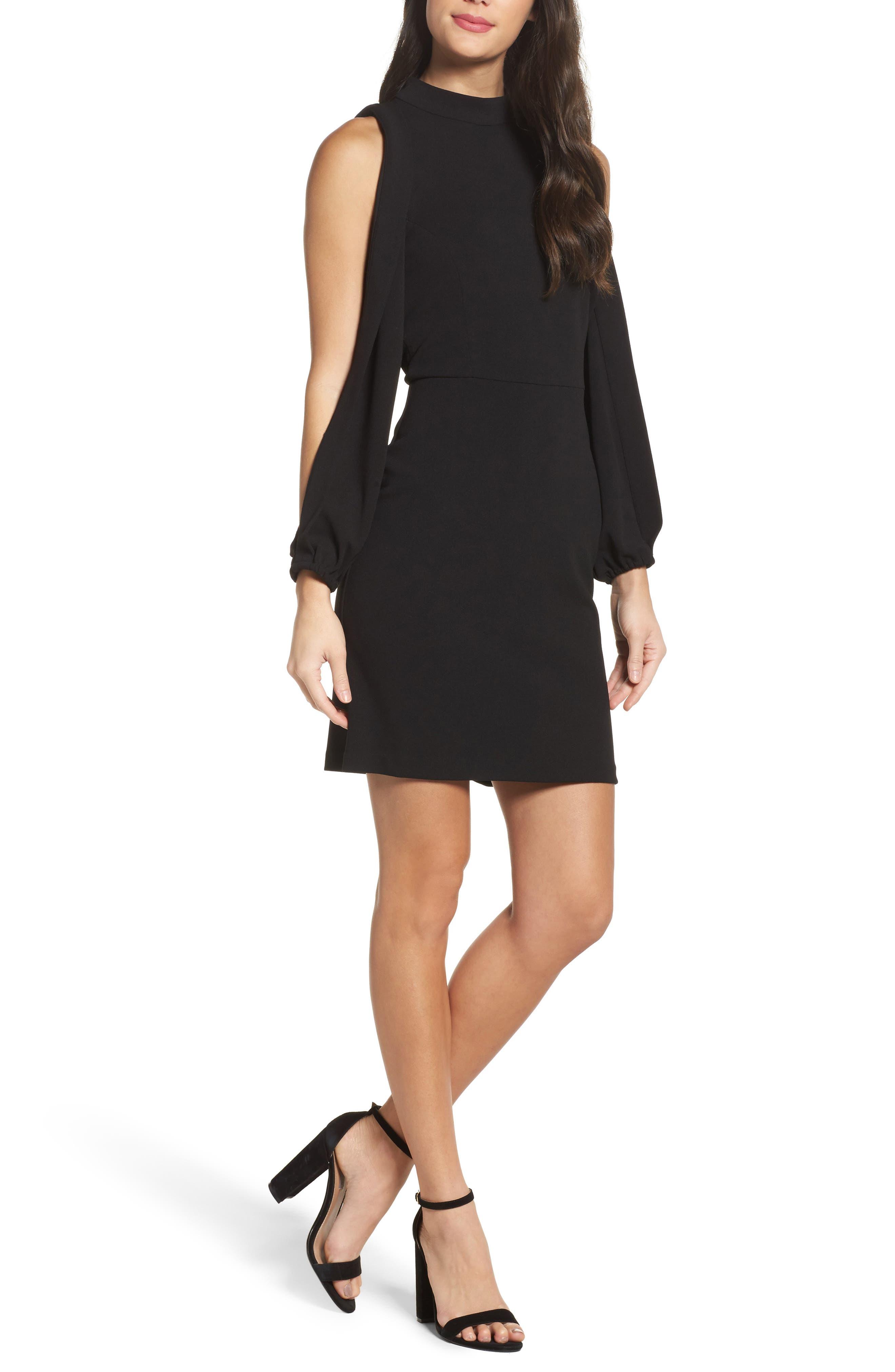 Split Sleeve Shift Dress,                         Main,                         color, Black