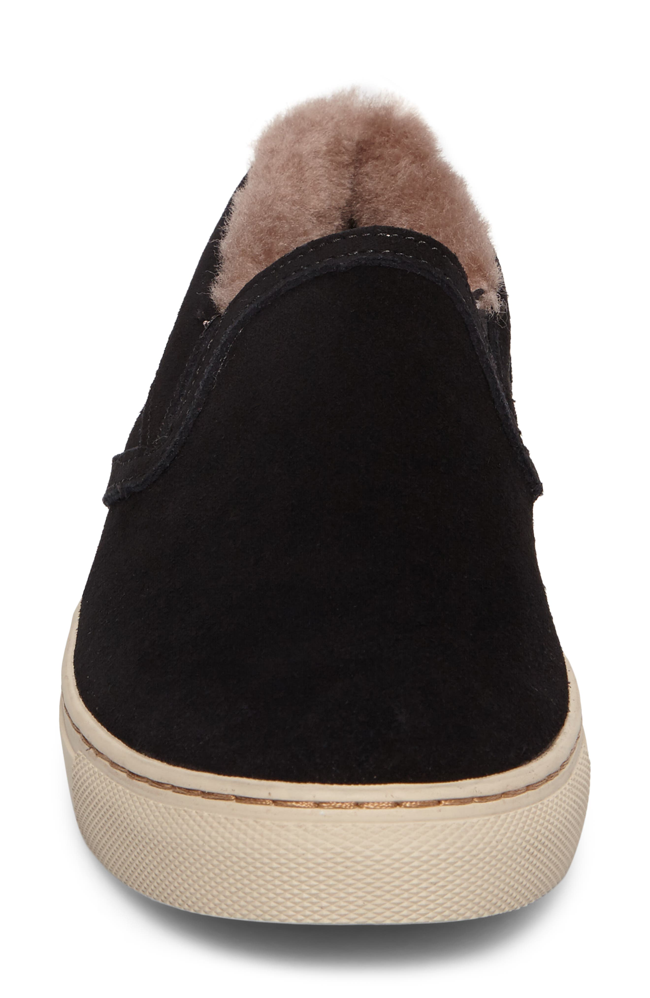 Fawn Waterproof Genuine Shearling Slip-On,                             Alternate thumbnail 4, color,                             Black Suede