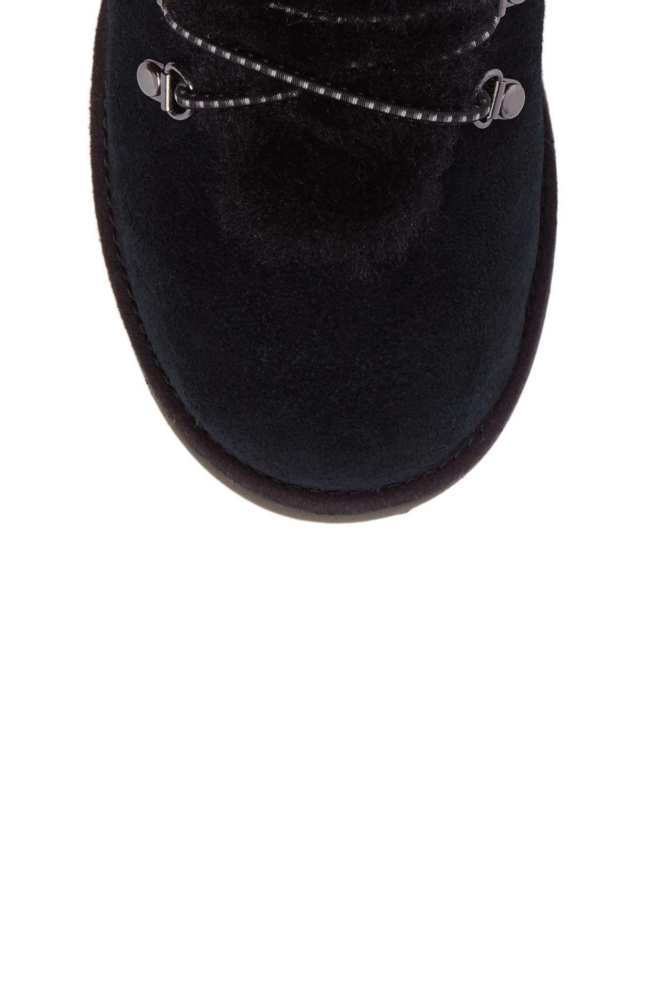 Viki Genuine Shearling Waterproof Bootie,                             Alternate thumbnail 5, color,                             Black