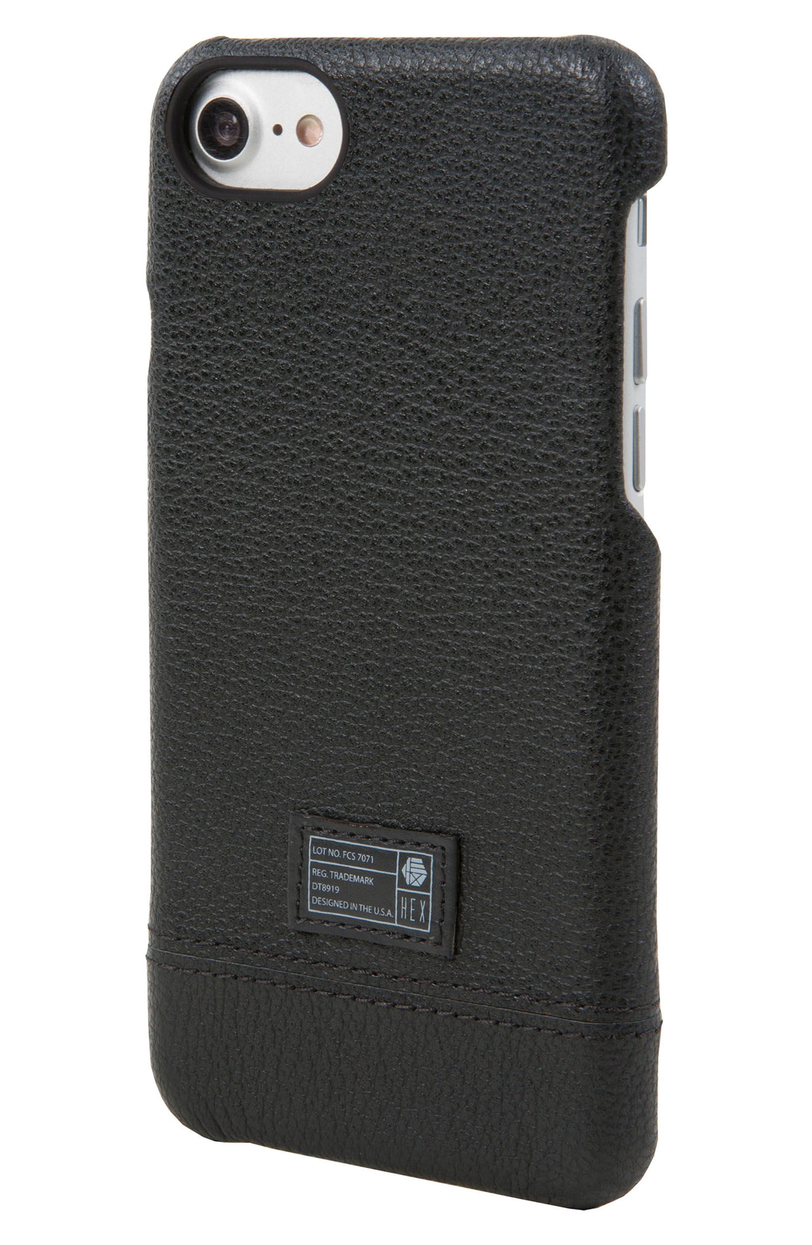 Focus Leather iPhone 6/6s/7/8 Case,                         Main,                         color, Black