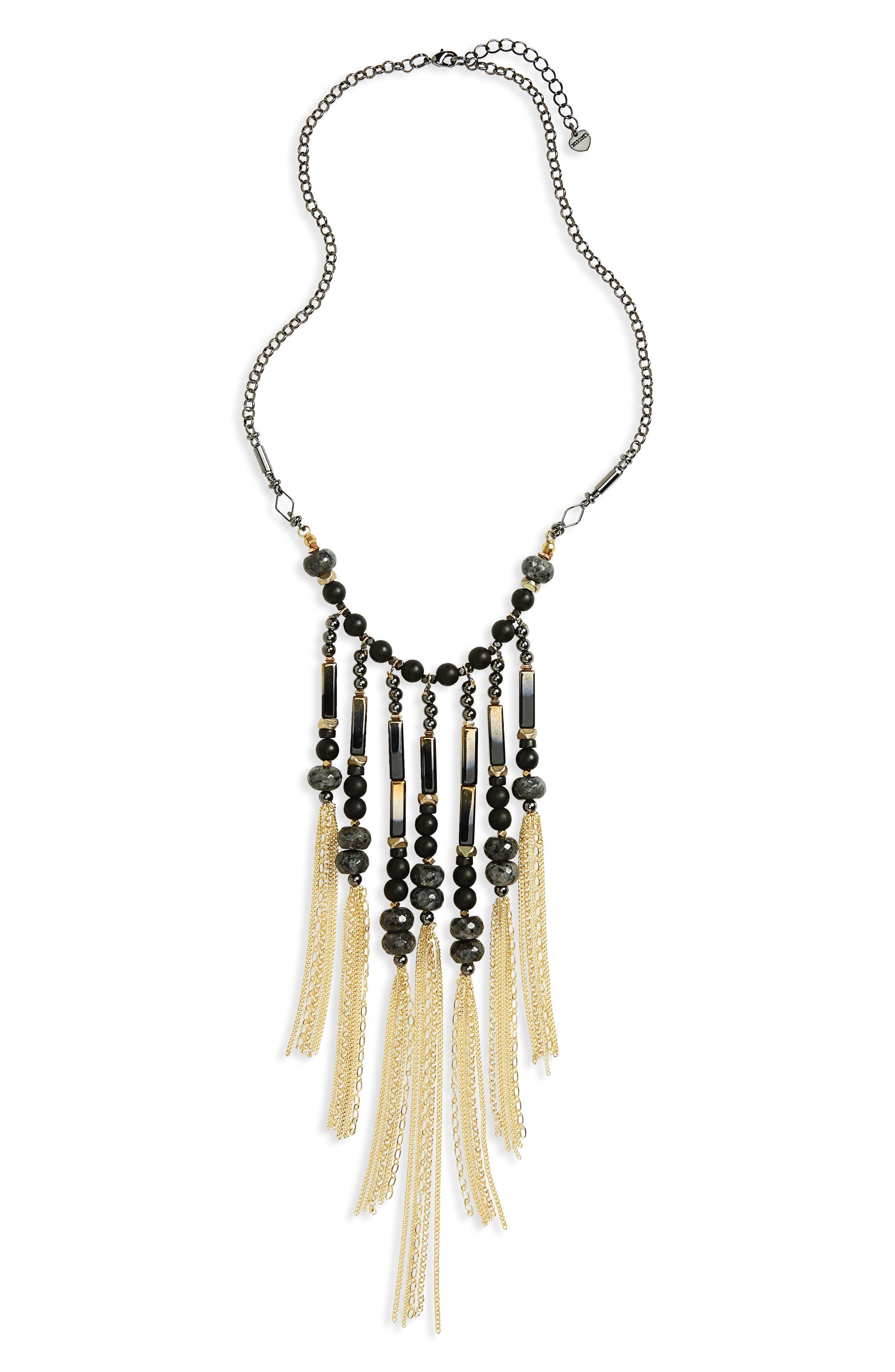Beaded Fringe Statement Necklace,                         Main,                         color, Black
