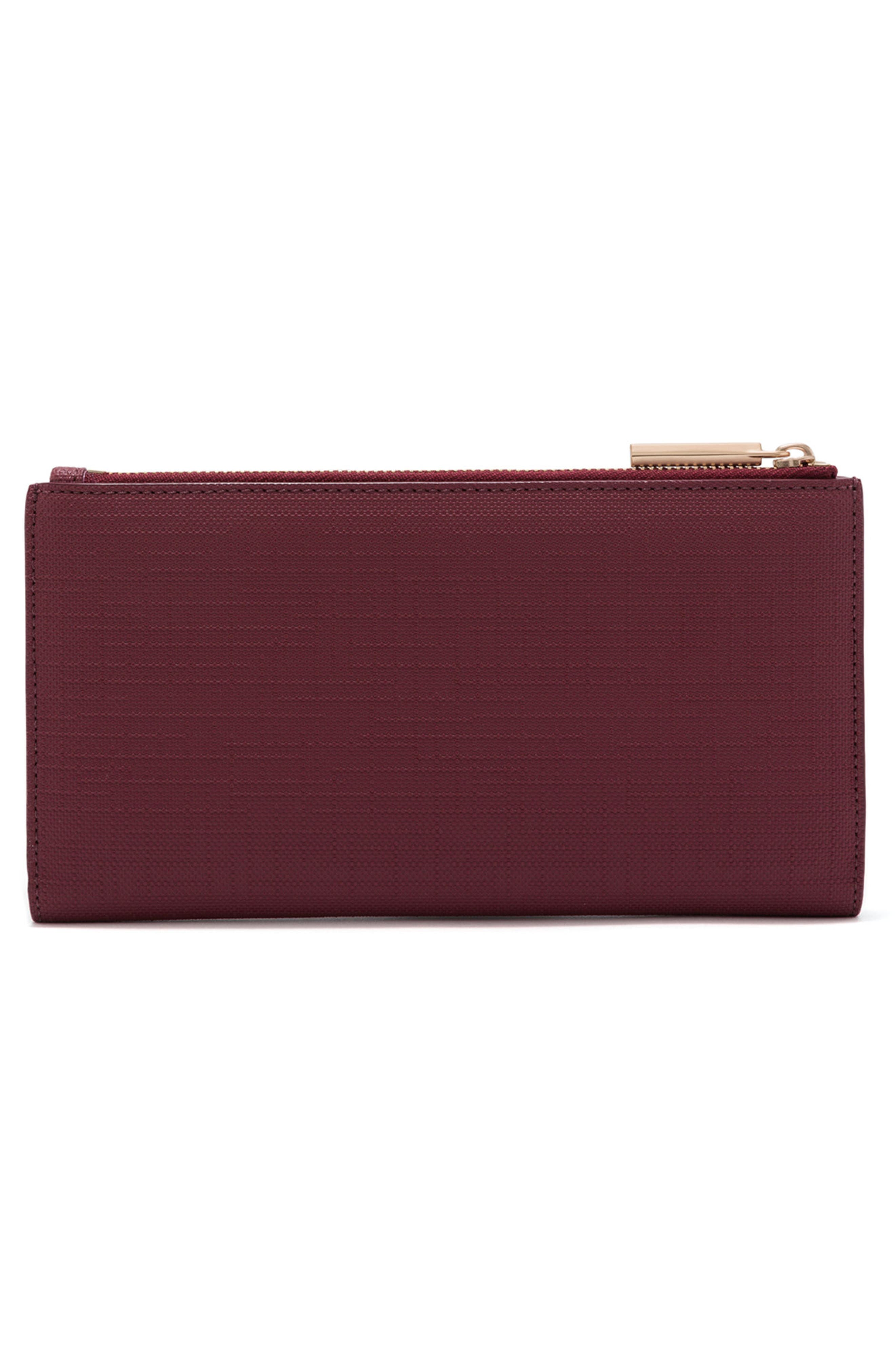 Signature Slim Coated Canvas Wallet,                             Alternate thumbnail 3, color,                             Syrah