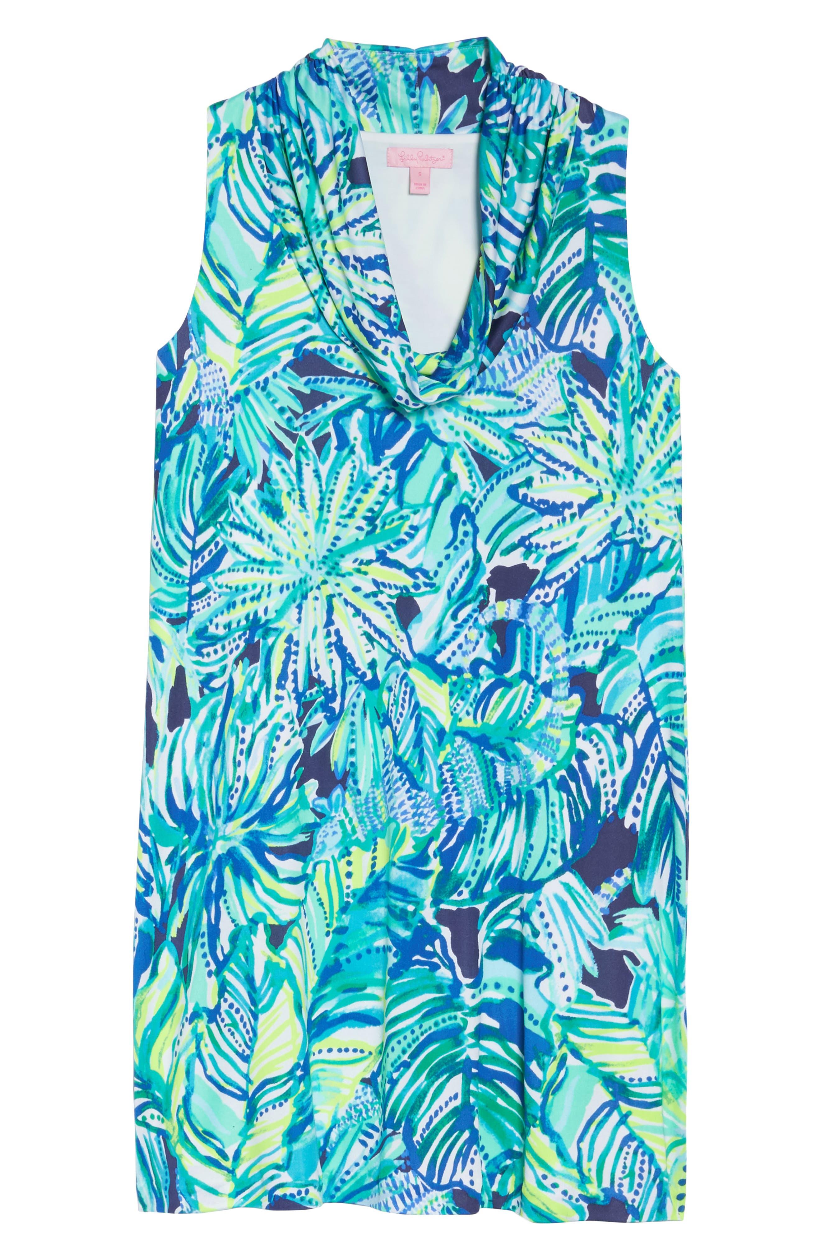 Lyza Silk Shift Dress,                             Alternate thumbnail 6, color,                             Bright Navy Dally