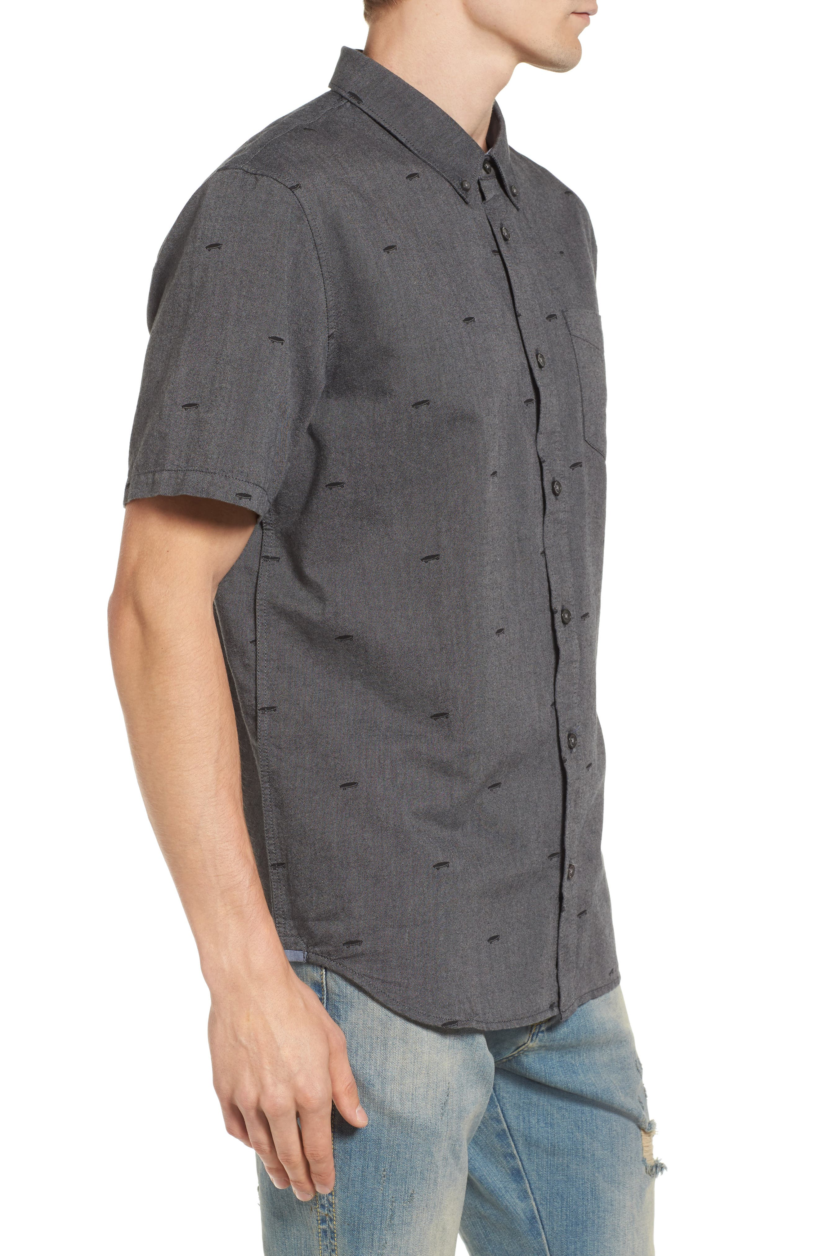 Houser Woven Shirt,                             Alternate thumbnail 3, color,                             Black Salton Ditsy