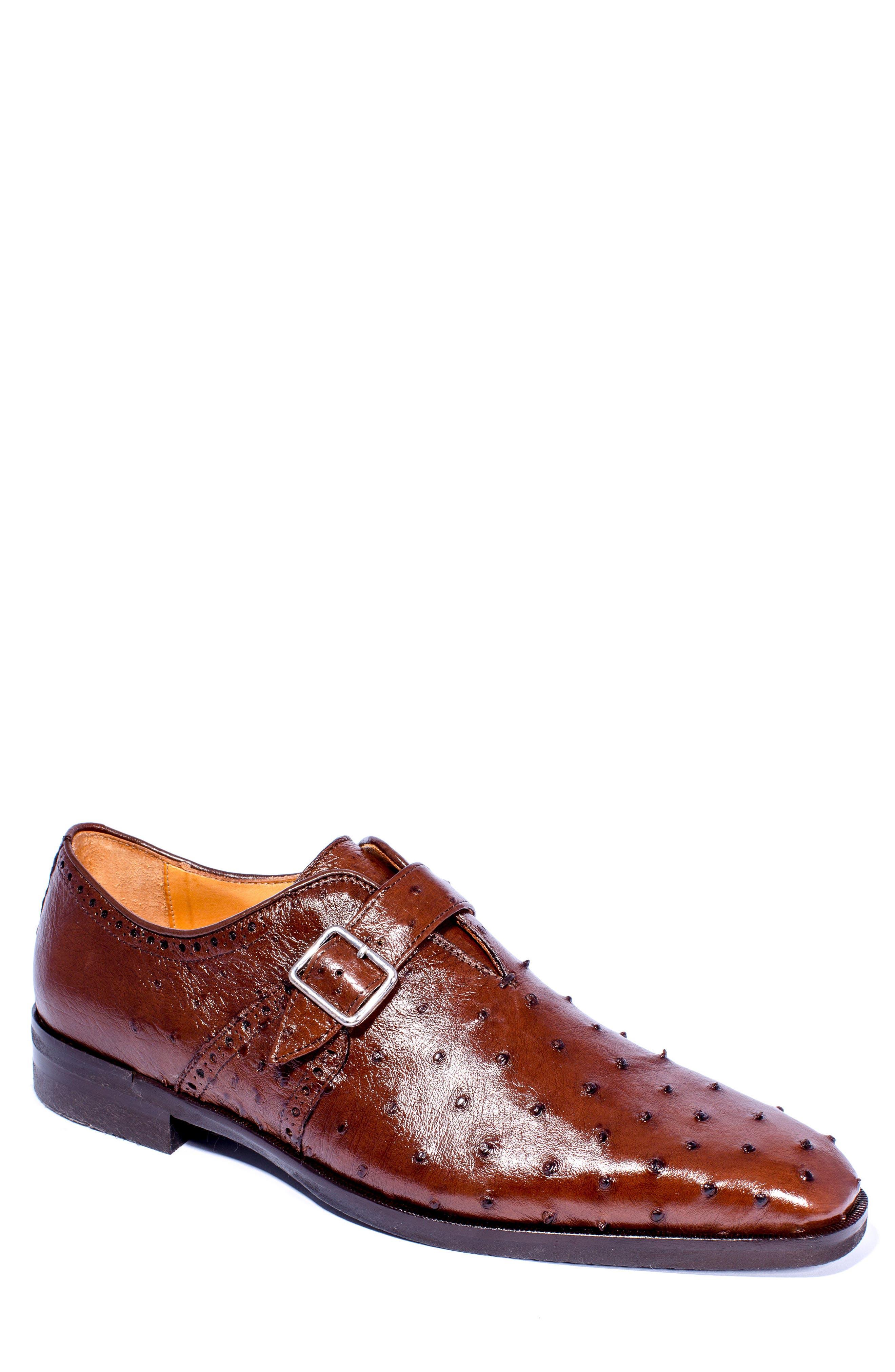 Alternate Image 1 Selected - Zelli Antonio Monk Strap Ostrich Leather Shoe (Men)