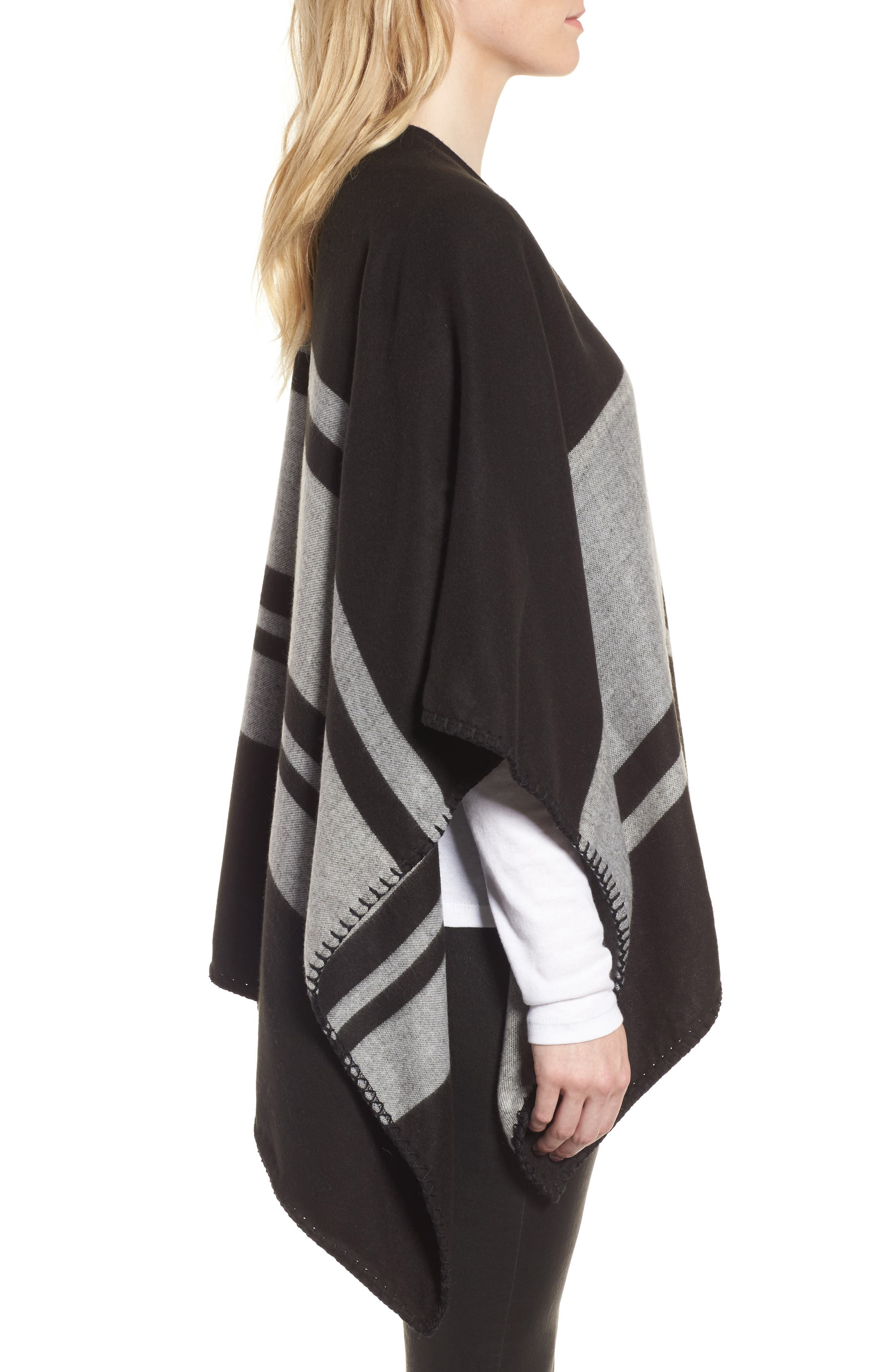 Stairway Stripe Blanket Cape,                             Alternate thumbnail 3, color,                             00-Black