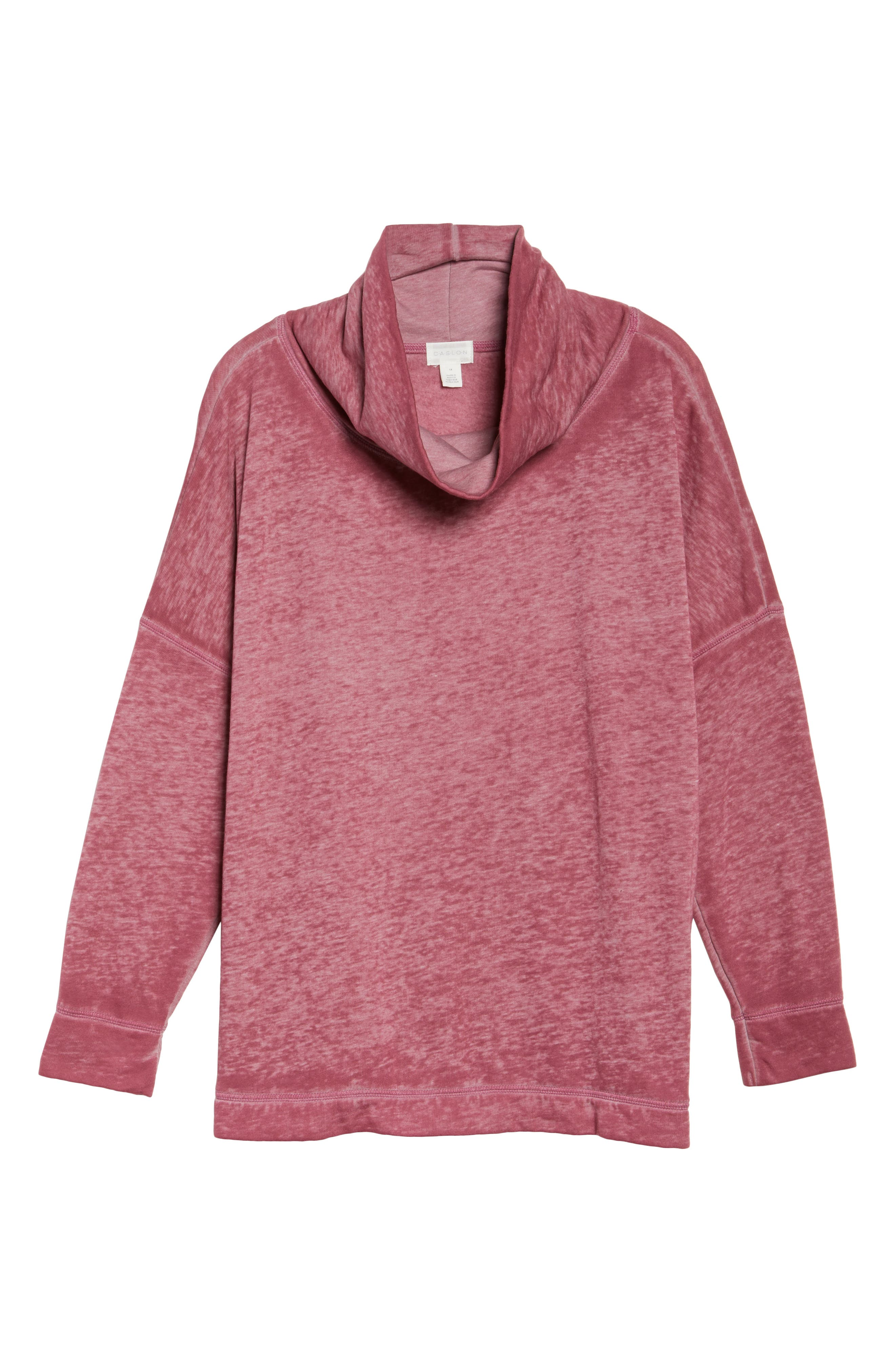 Pleat Back Sweatshirt,                             Alternate thumbnail 6, color,                             Burgundy Thorn