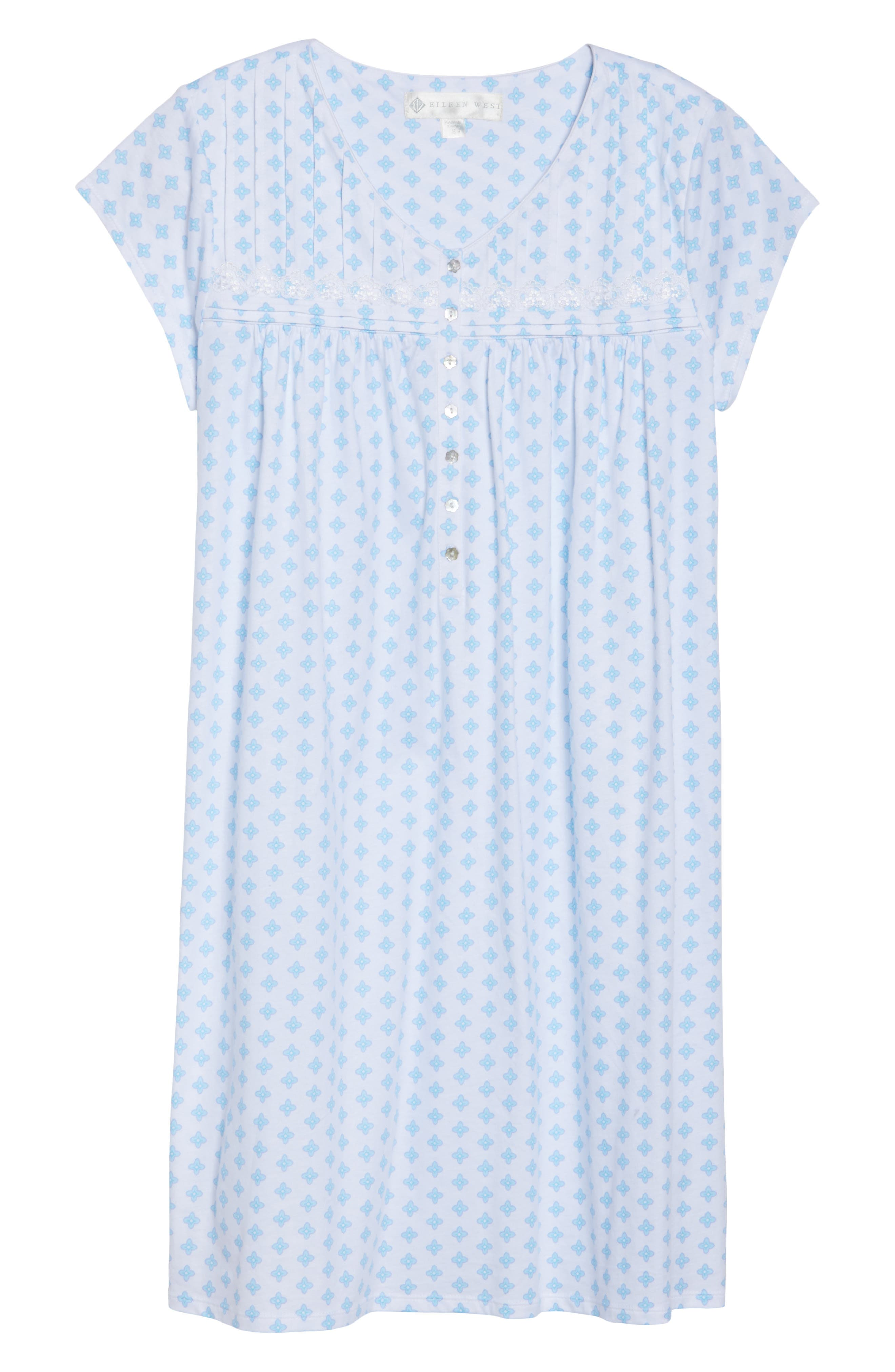 Short Nightgown,                             Alternate thumbnail 4, color,                             Blue Geo