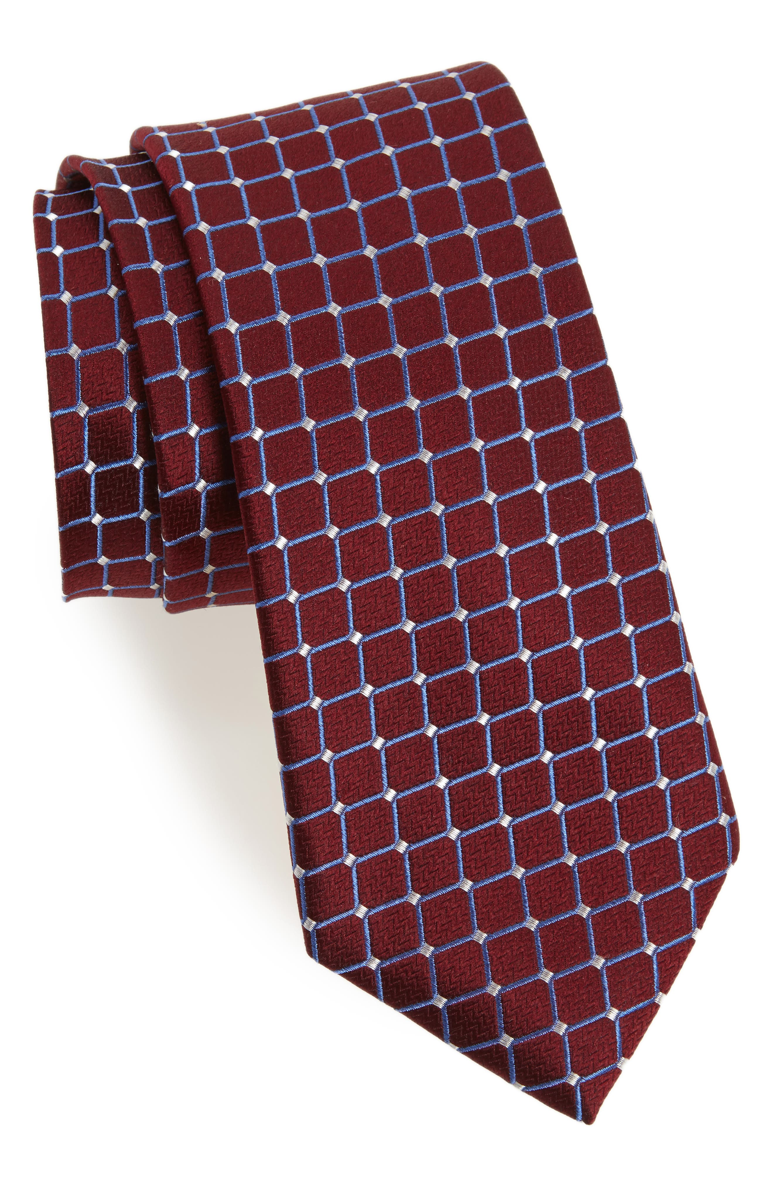Check Silk Tie,                             Main thumbnail 1, color,                             Burgundy