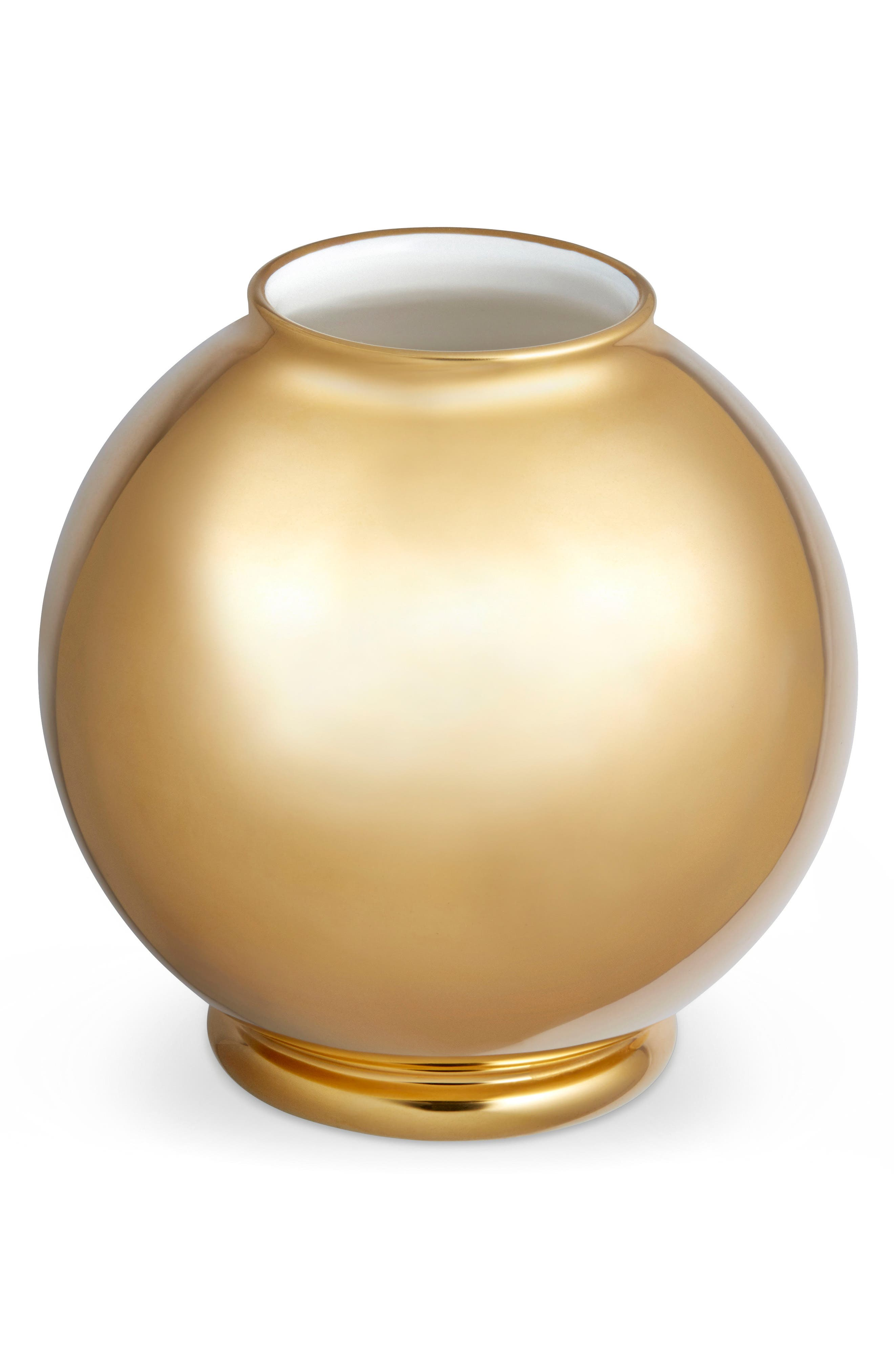 Marion Gilded Round Vase,                         Main,                         color, Gold
