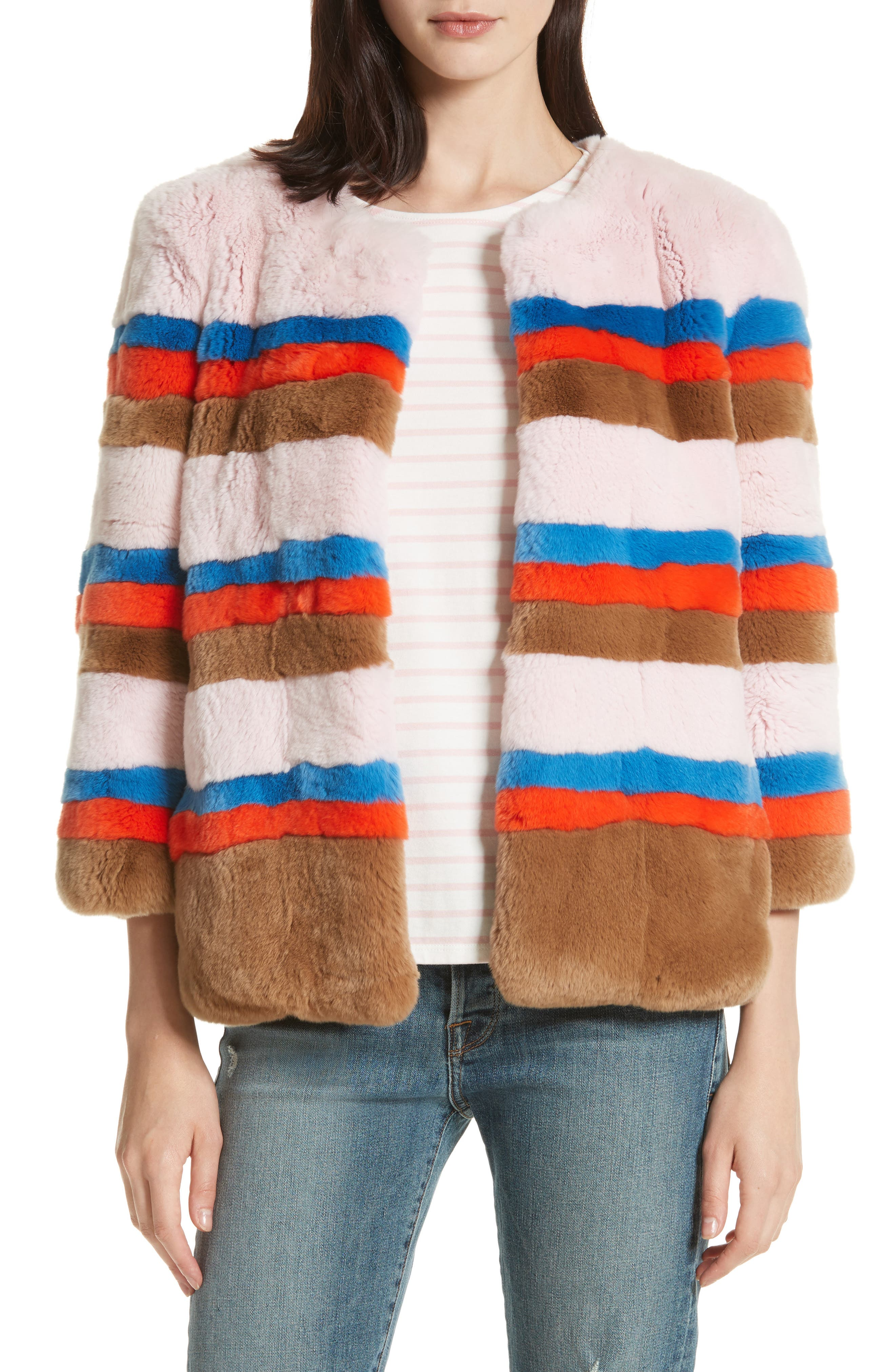 The Betty Genuine Rabbit Fur Jacket,                         Main,                         color, Pink Vicuna Poppy Royal