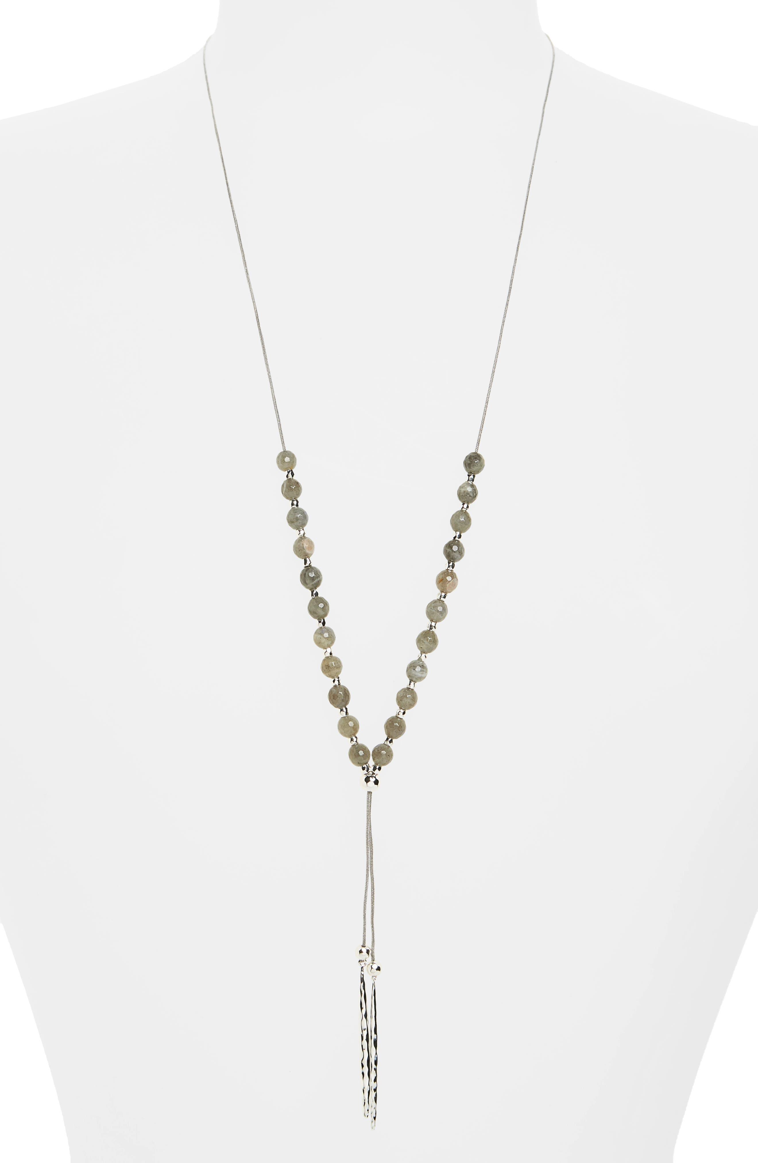 Power Gemstone Convertible Necklace,                             Main thumbnail 1, color,                             Labradorite / Silver