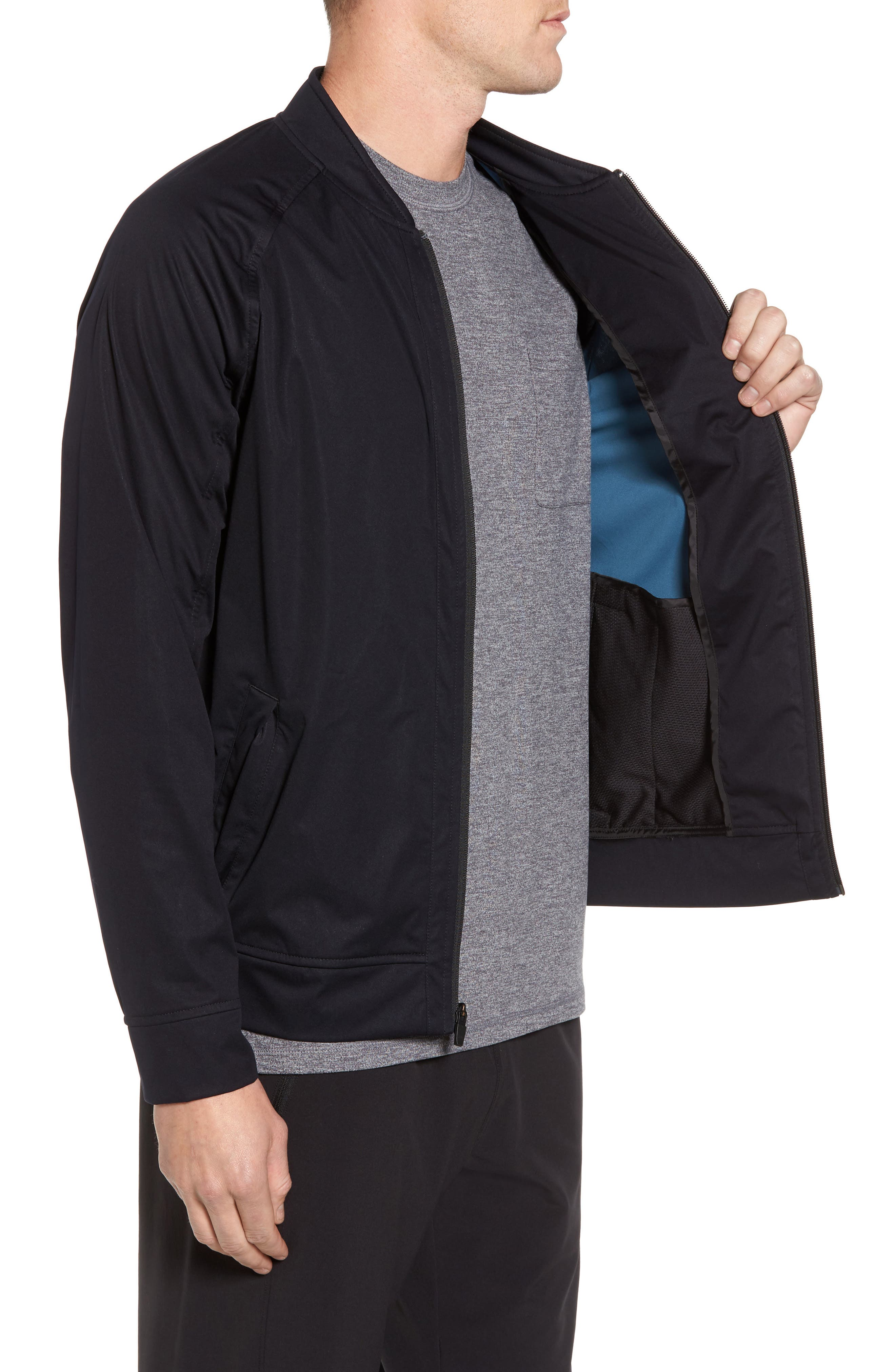 Softshell Bomber Jacket,                             Alternate thumbnail 3, color,                             Black
