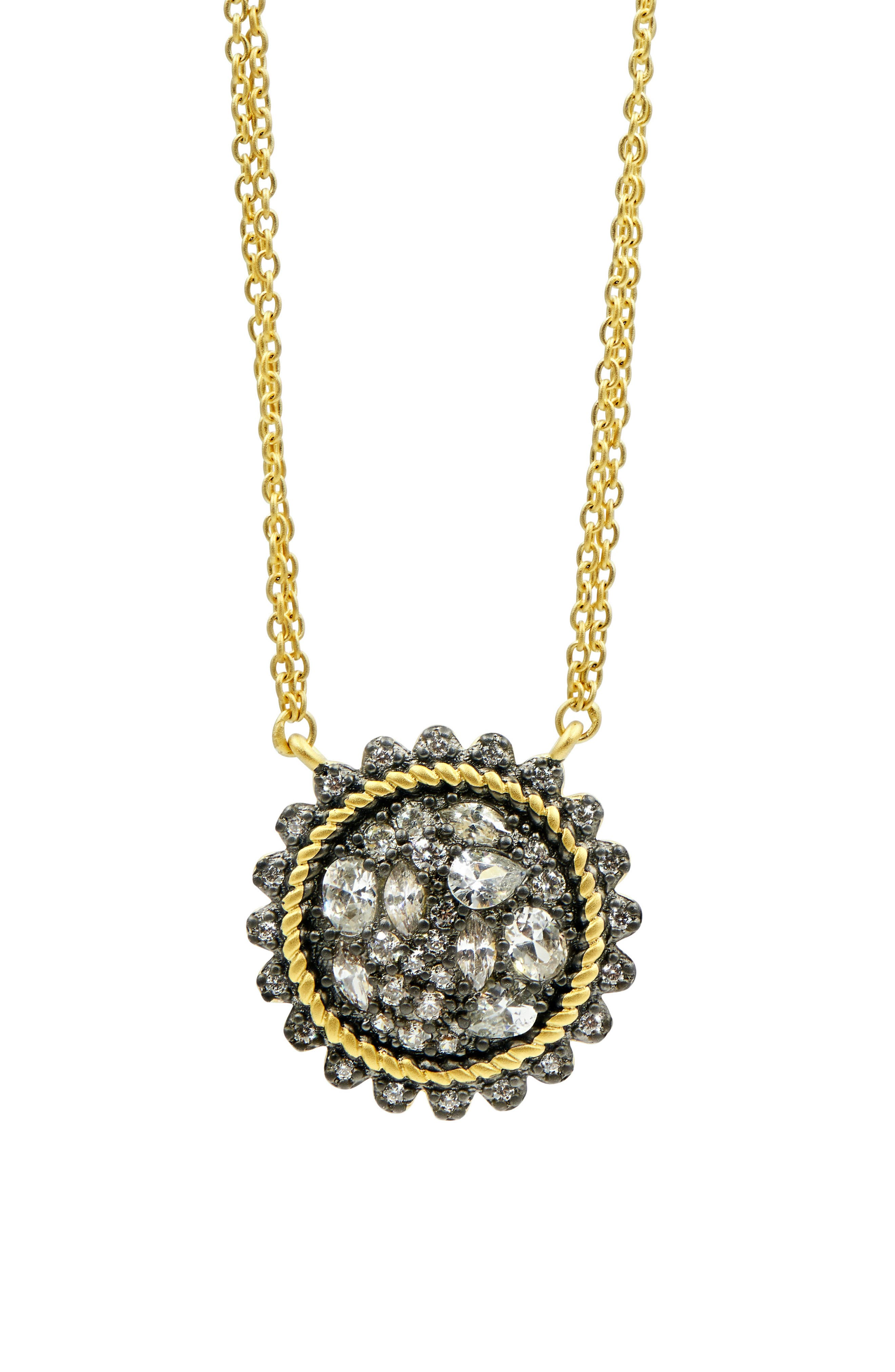 Gilded Cable Pebble Stone Disc Necklace,                         Main,                         color, Black/ Gold