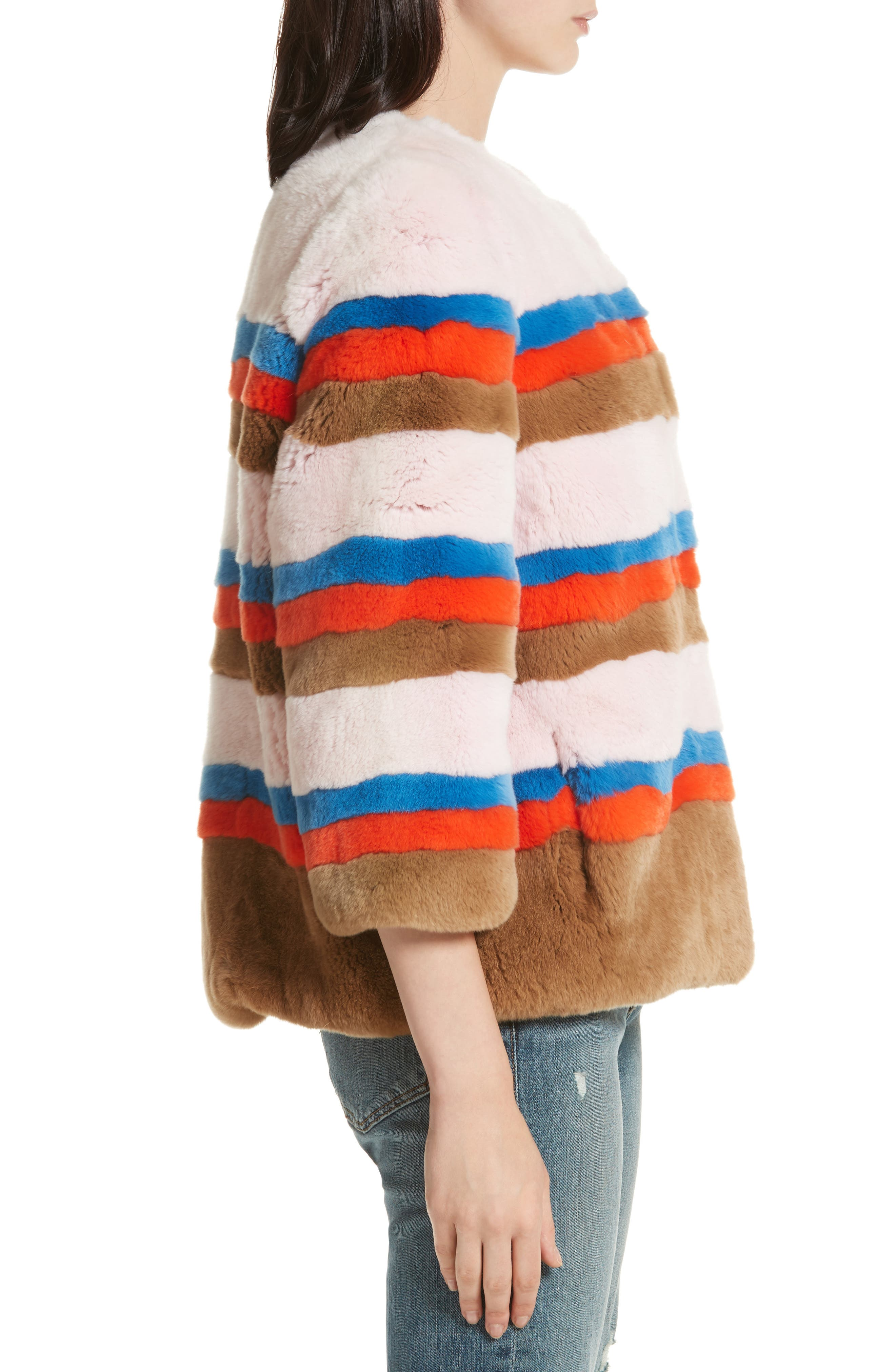 The Betty Genuine Rabbit Fur Jacket,                             Alternate thumbnail 4, color,                             Pink Vicuna Poppy Royal