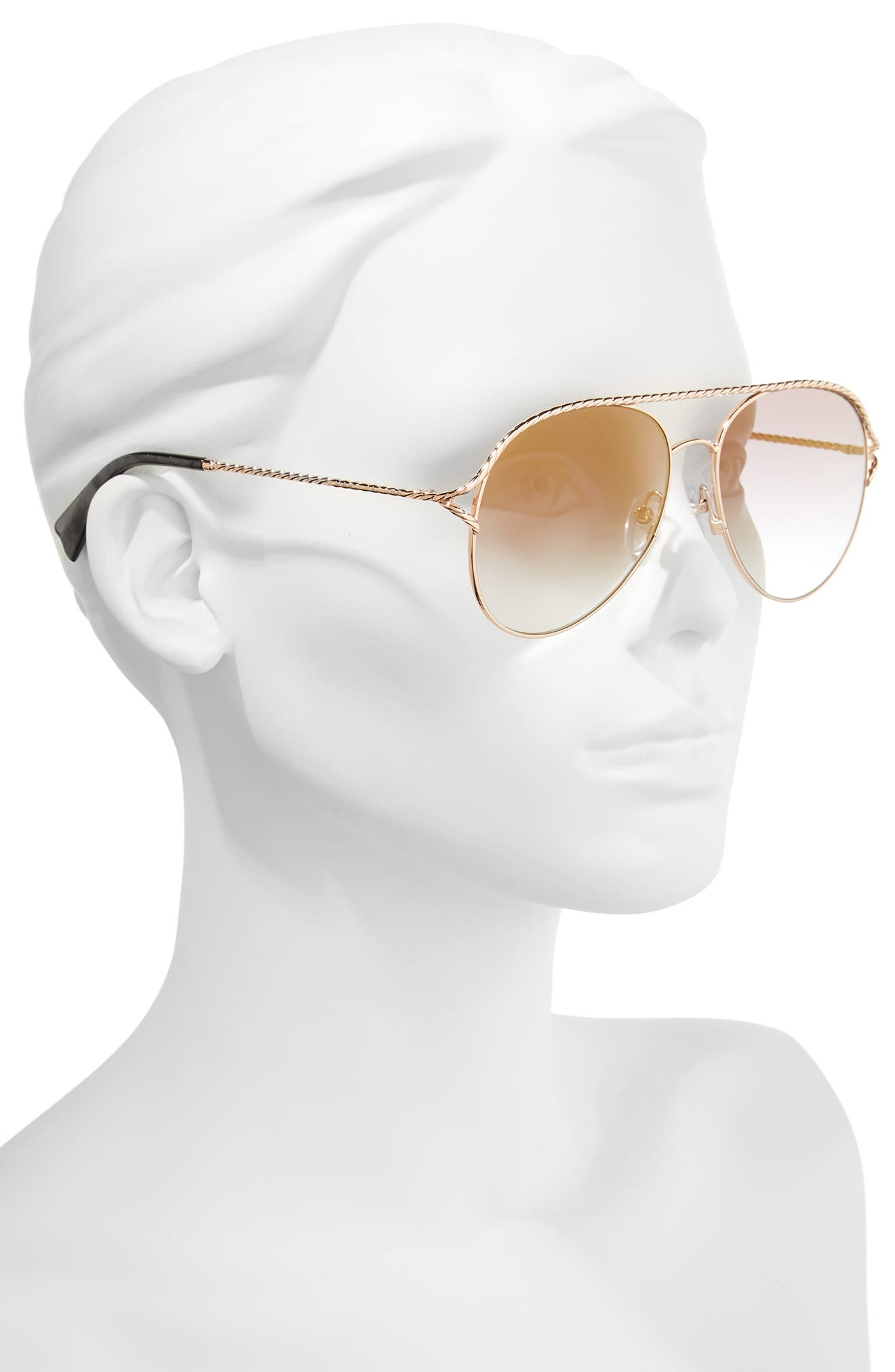 58mm Aviator Sunglasses,                             Alternate thumbnail 2, color,                             Antique Gold Green