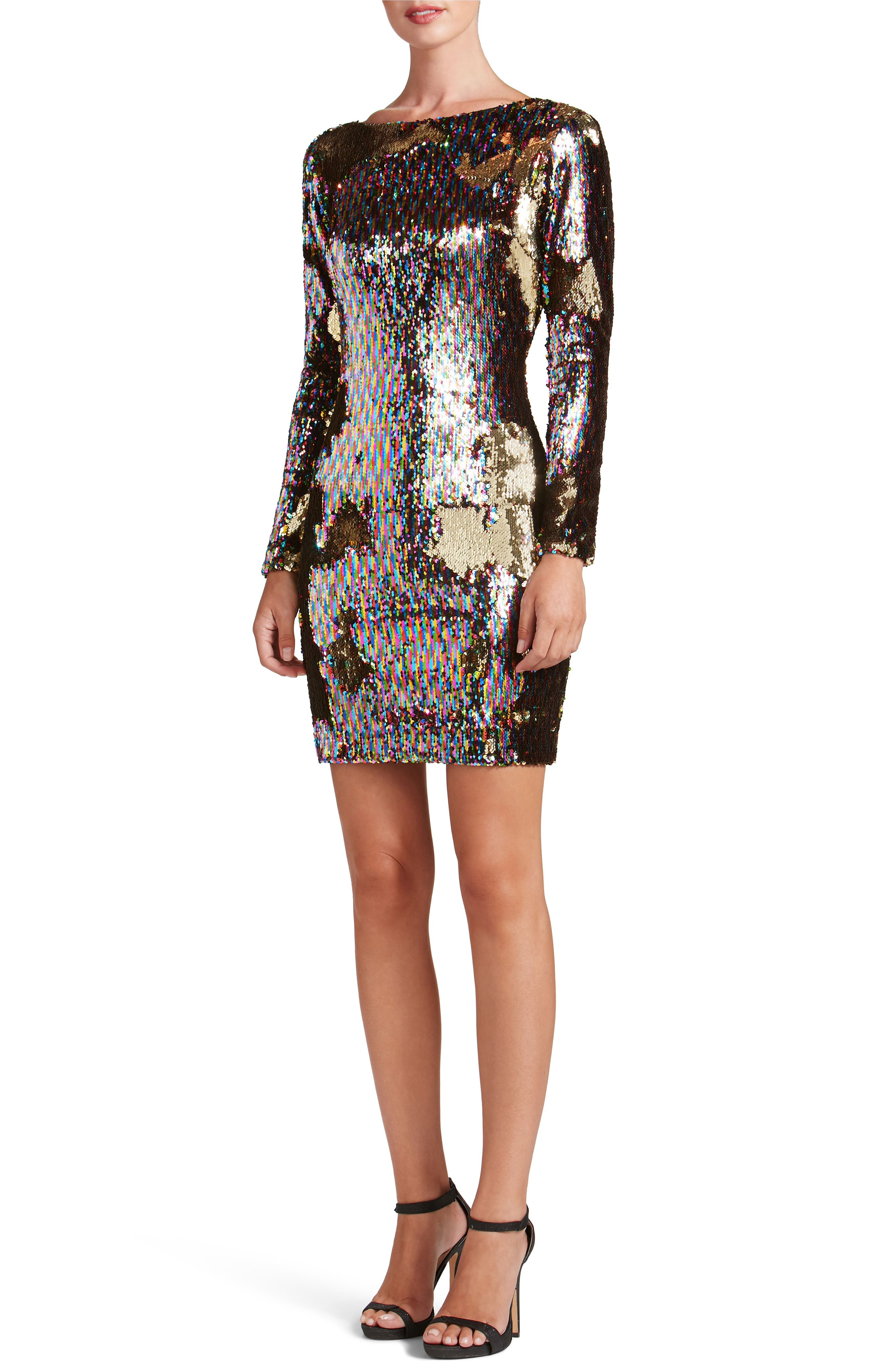 Lola Ombré Sequin Body-Con Dress,                         Main,                         color, Multi/ Gold