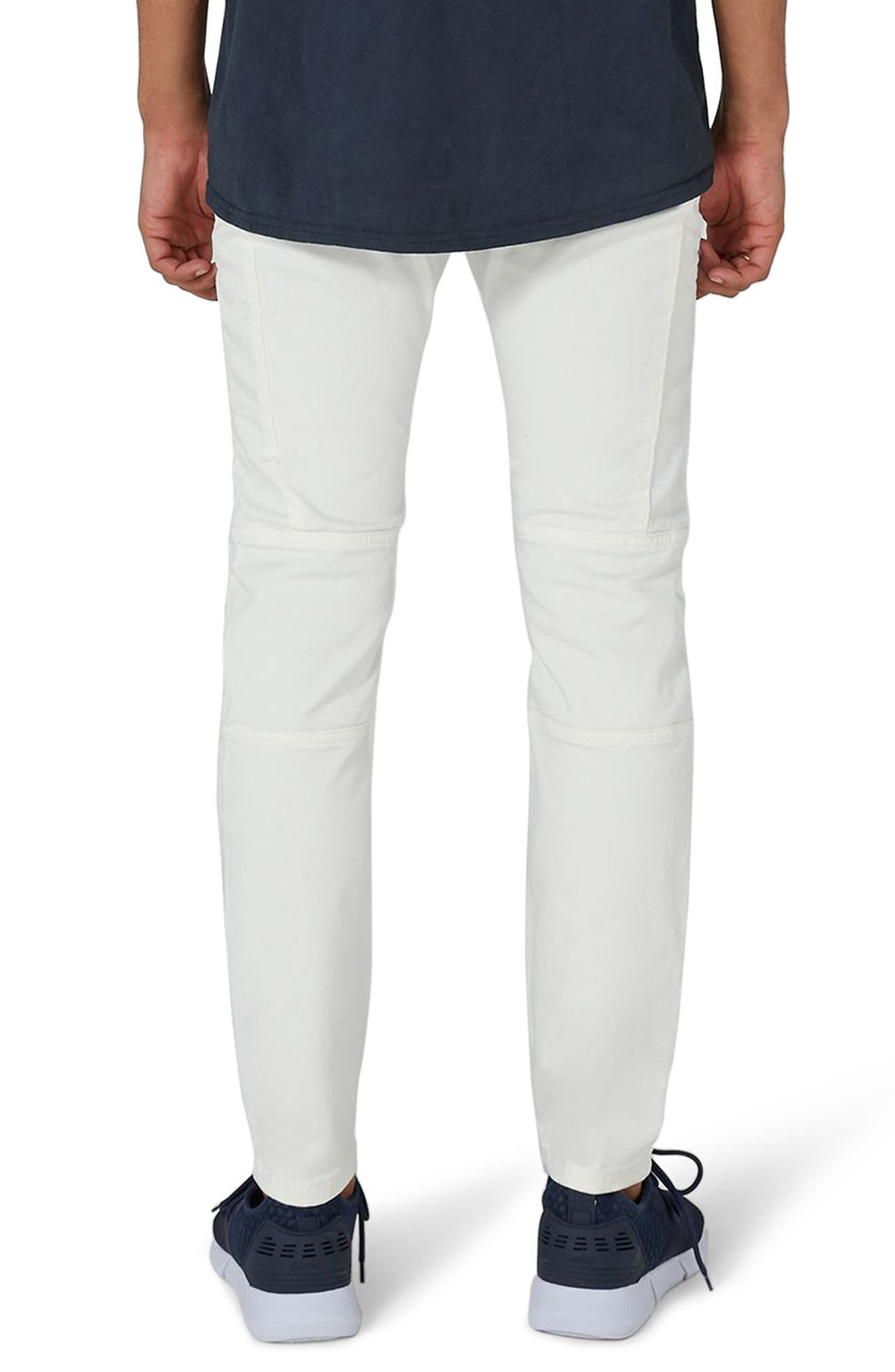 Biker Stretch Skinny Jeans,                             Alternate thumbnail 2, color,                             Cream