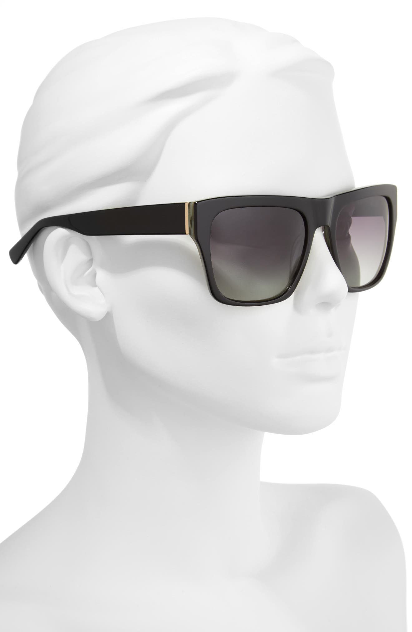 57mm Gradient Square Sunglasses,                             Alternate thumbnail 2, color,                             Black