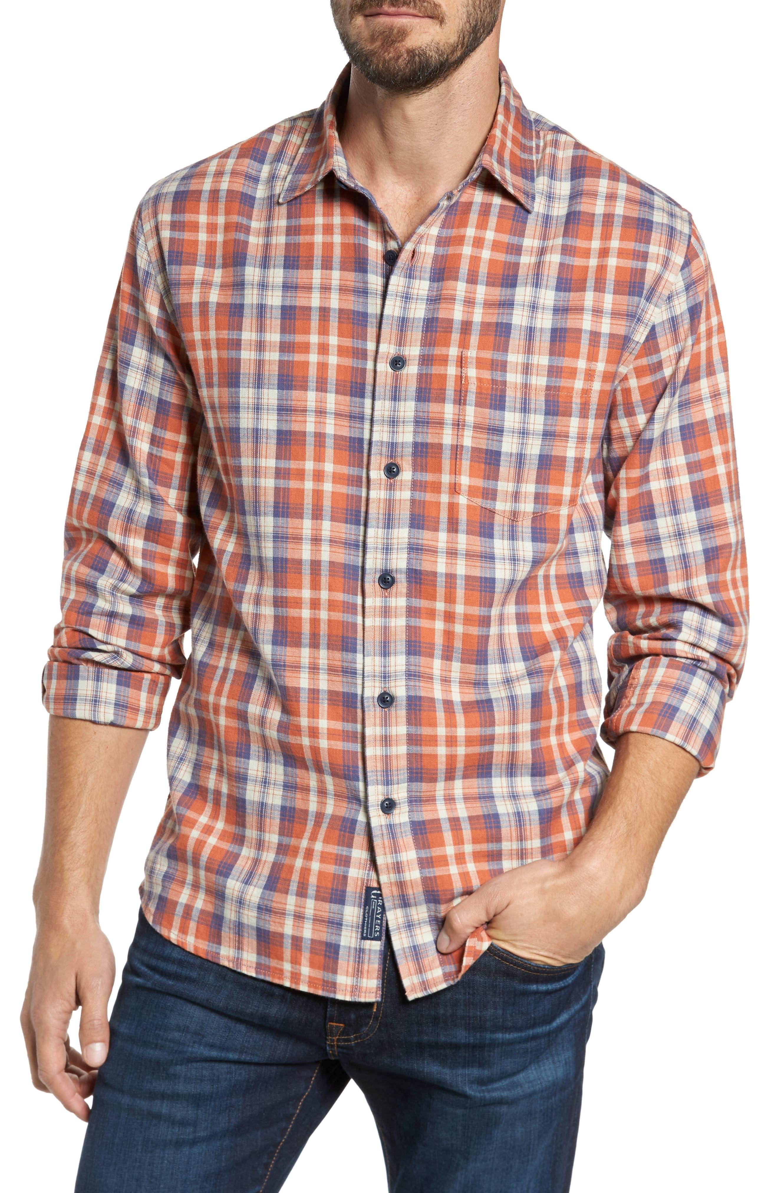 Scottsdale Slim Fit Plaid Slub Twill Sport Shirt,                         Main,                         color, Brunt Orange