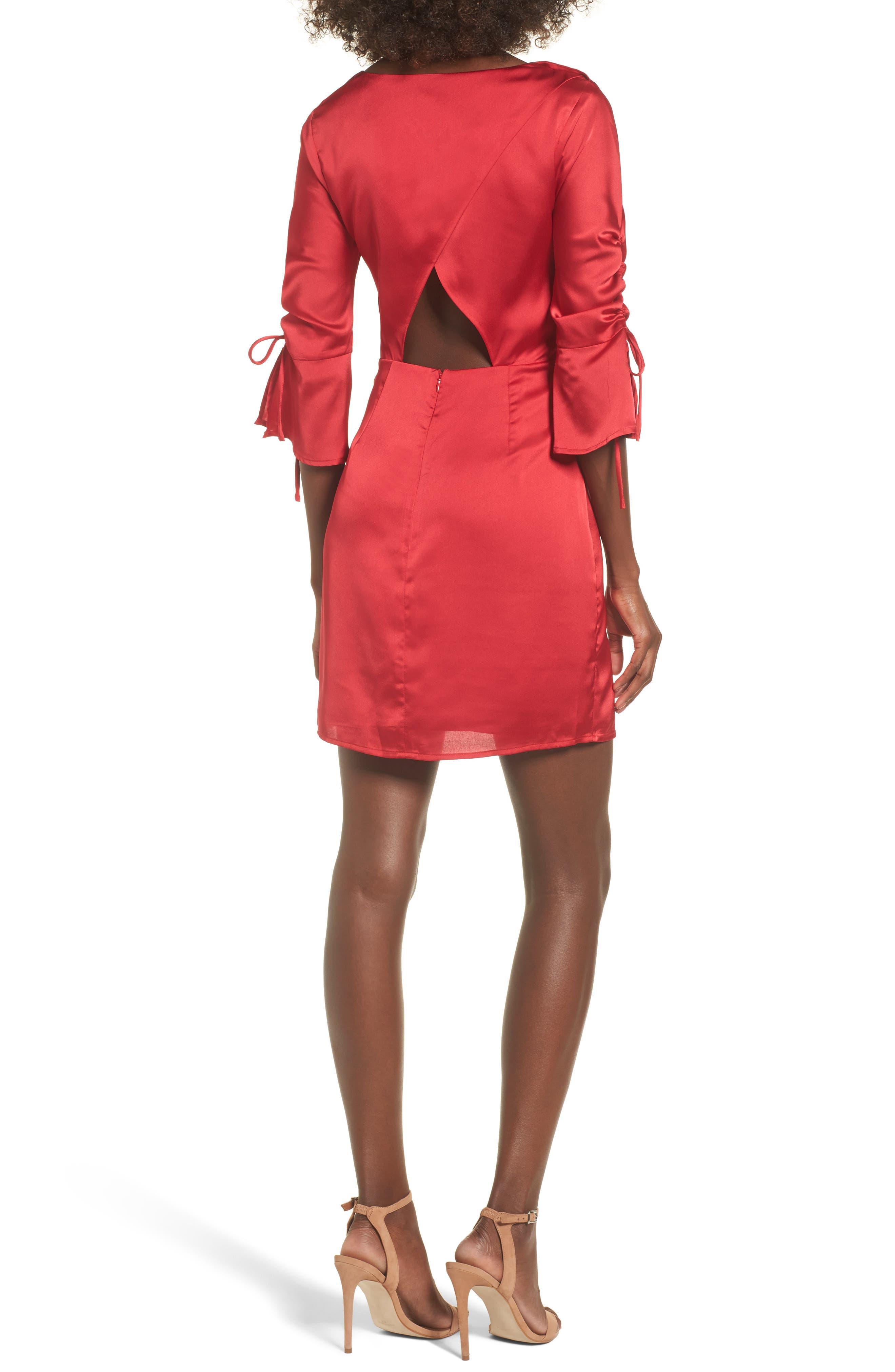 Tie Sleeve Minidress,                             Alternate thumbnail 2, color,                             Scarlett Red