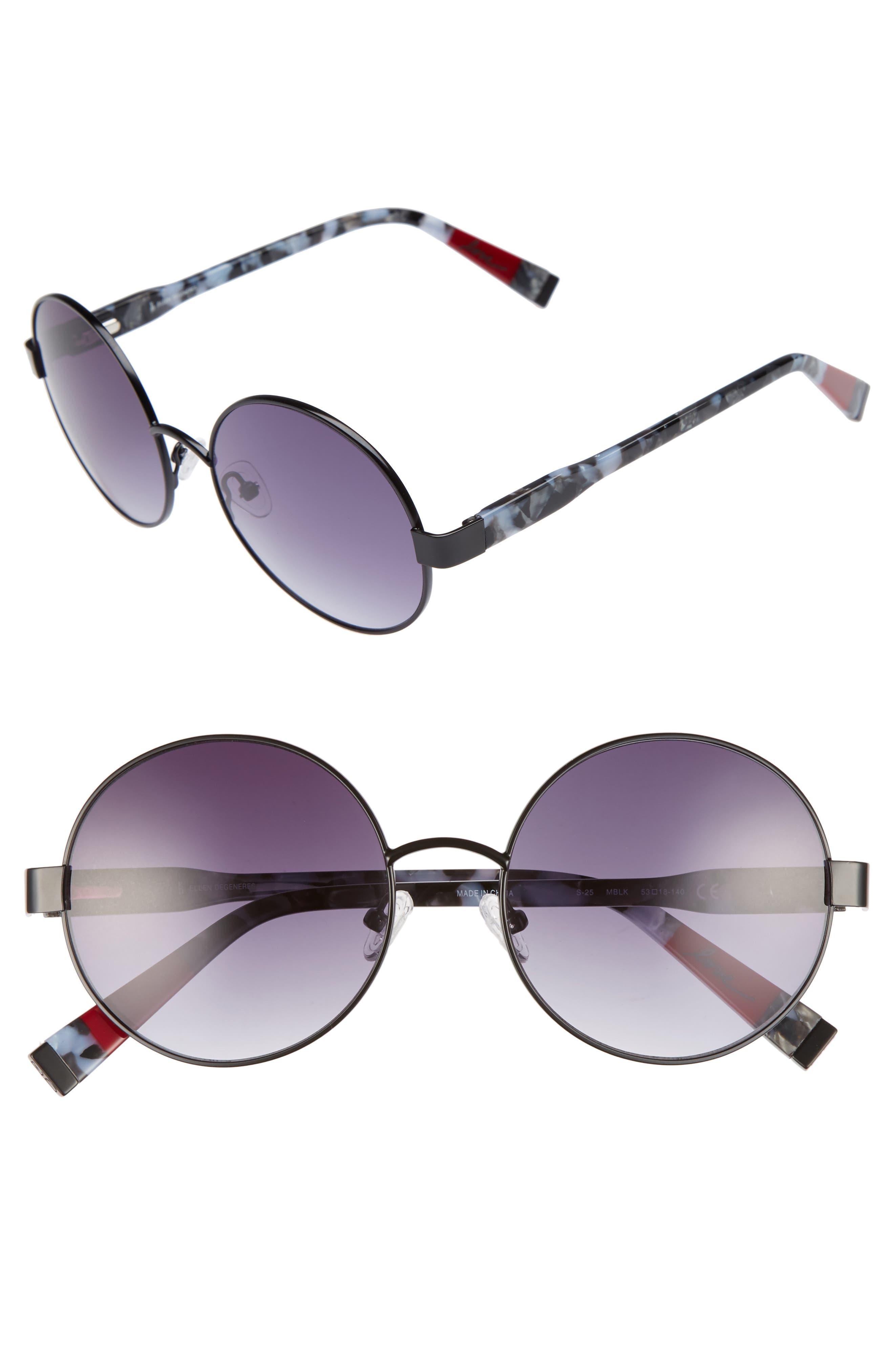 53mm Round Sunglasses,                         Main,                         color, Matte Black