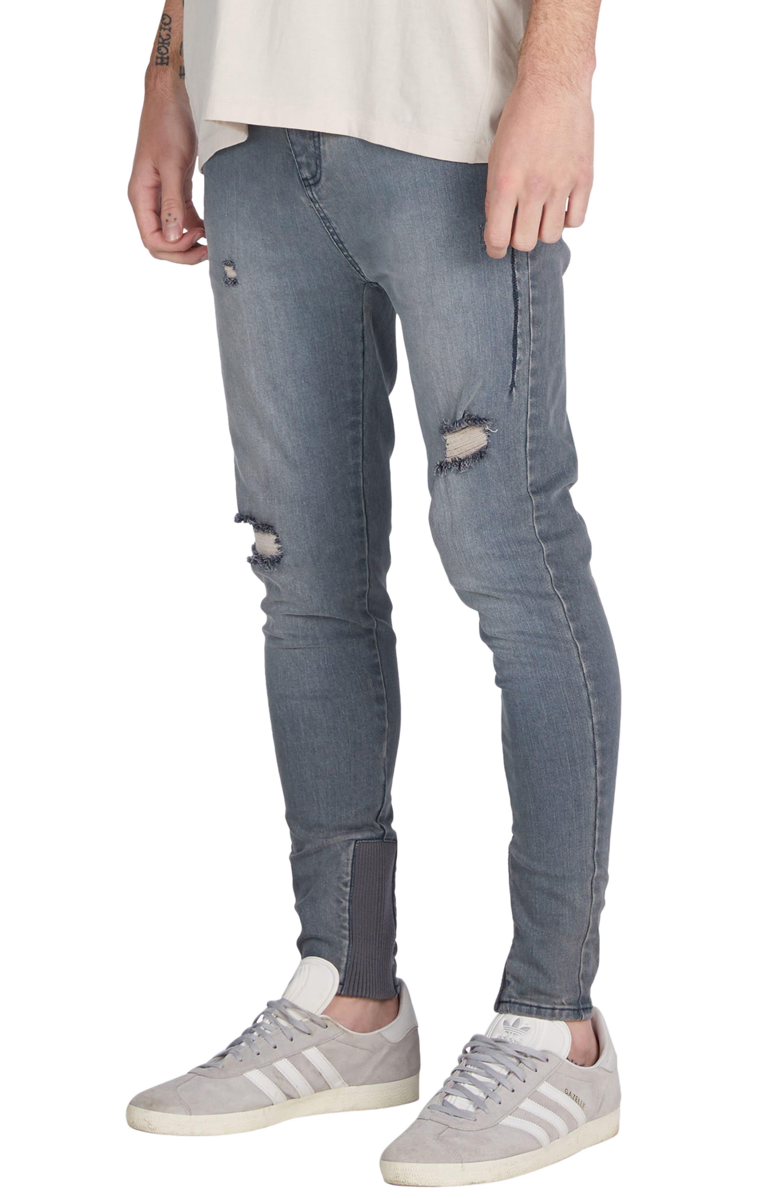 Sharpshot Slouchy Skinny Fit Denim Pants,                             Alternate thumbnail 4, color,                             Blue Grey